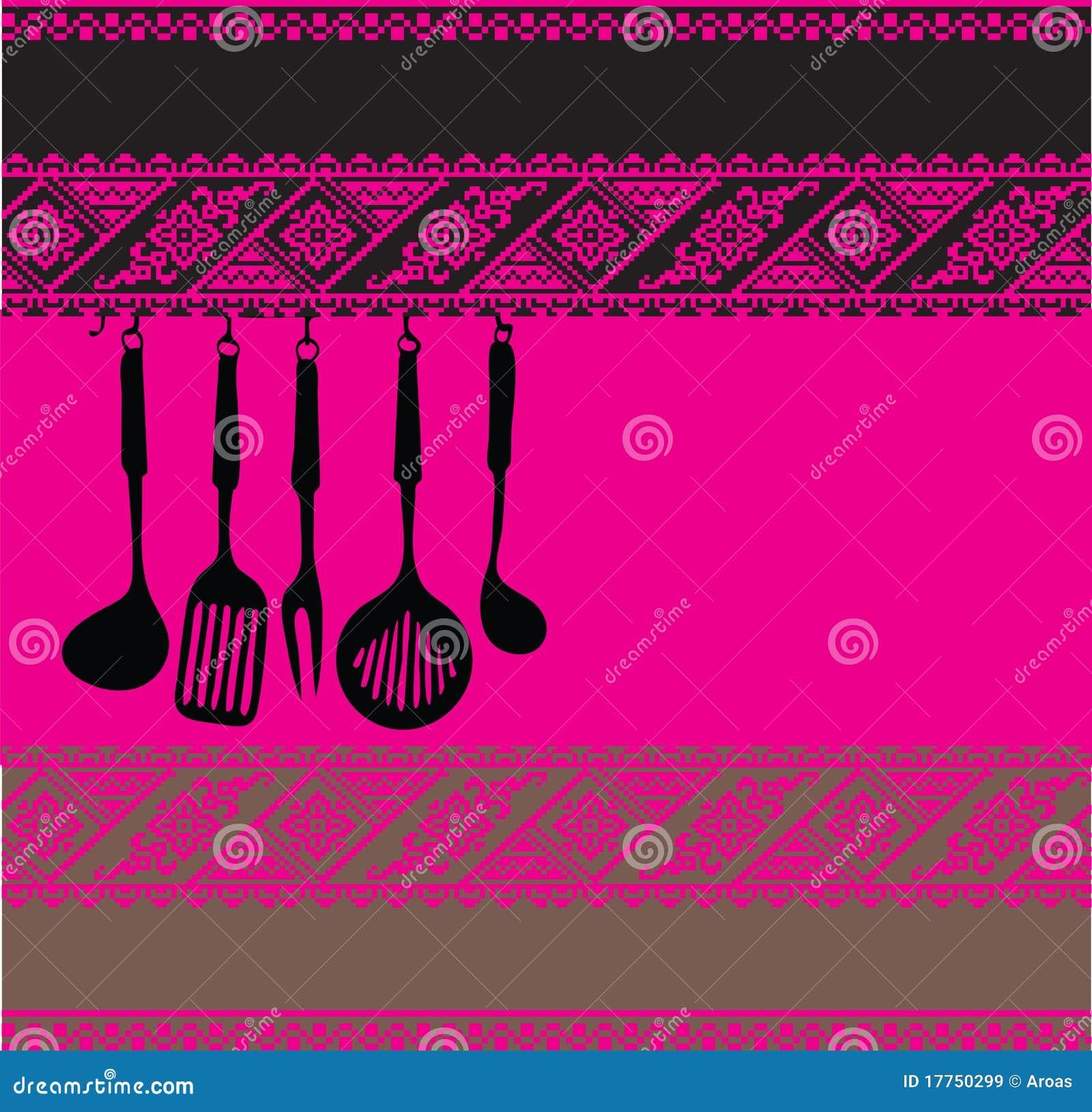 Estante de los utensilios de la cocina en fondo antiguo for Utensilios de cocina fondo