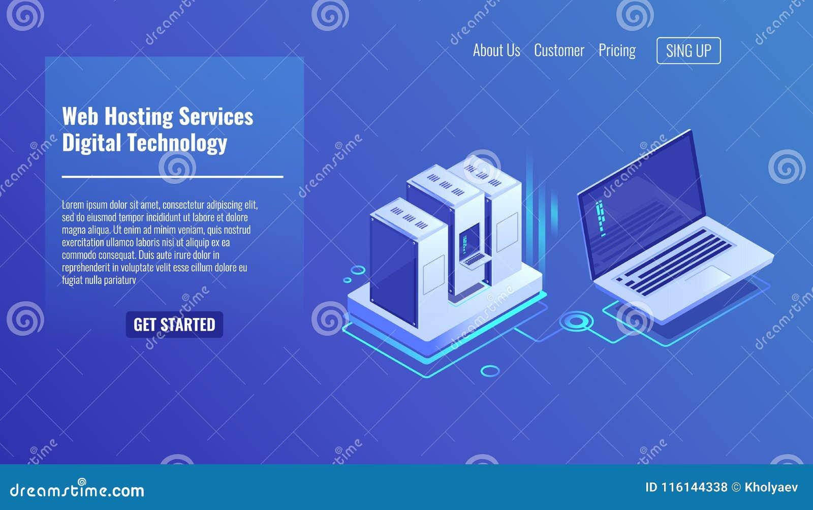 Estante del sitio del servidor, la administración del sistema remoto, servicio de externalización, icono isométrico 3d del vector