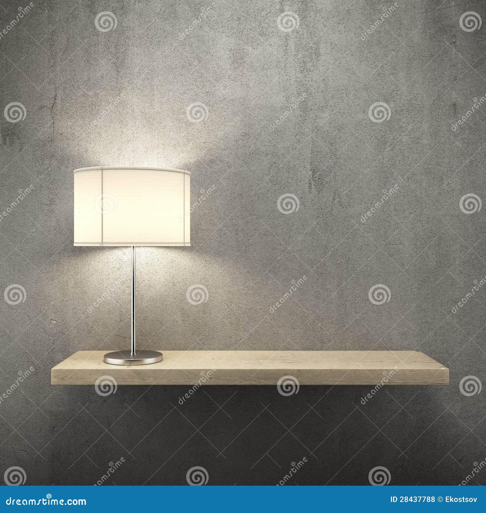 Estante en la pared con la lámpara
