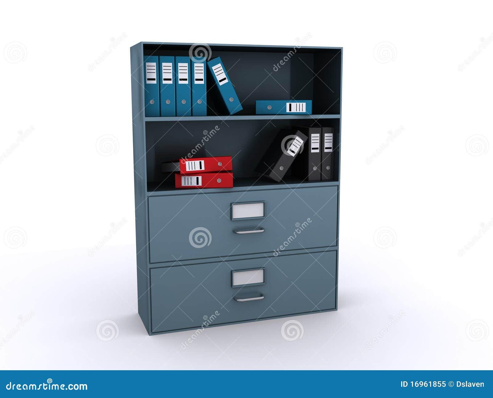 Estante Para Libros De La Oficina Con Los Ficheros Stock De  # Muebles Ficheros