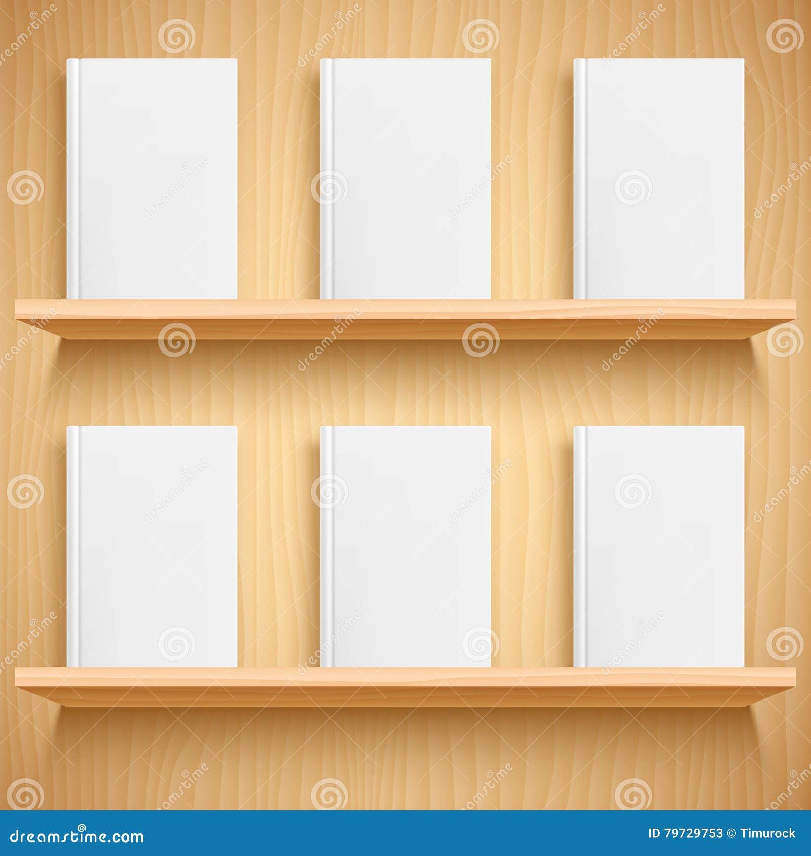 Estante y libros con las cubiertas en blanco