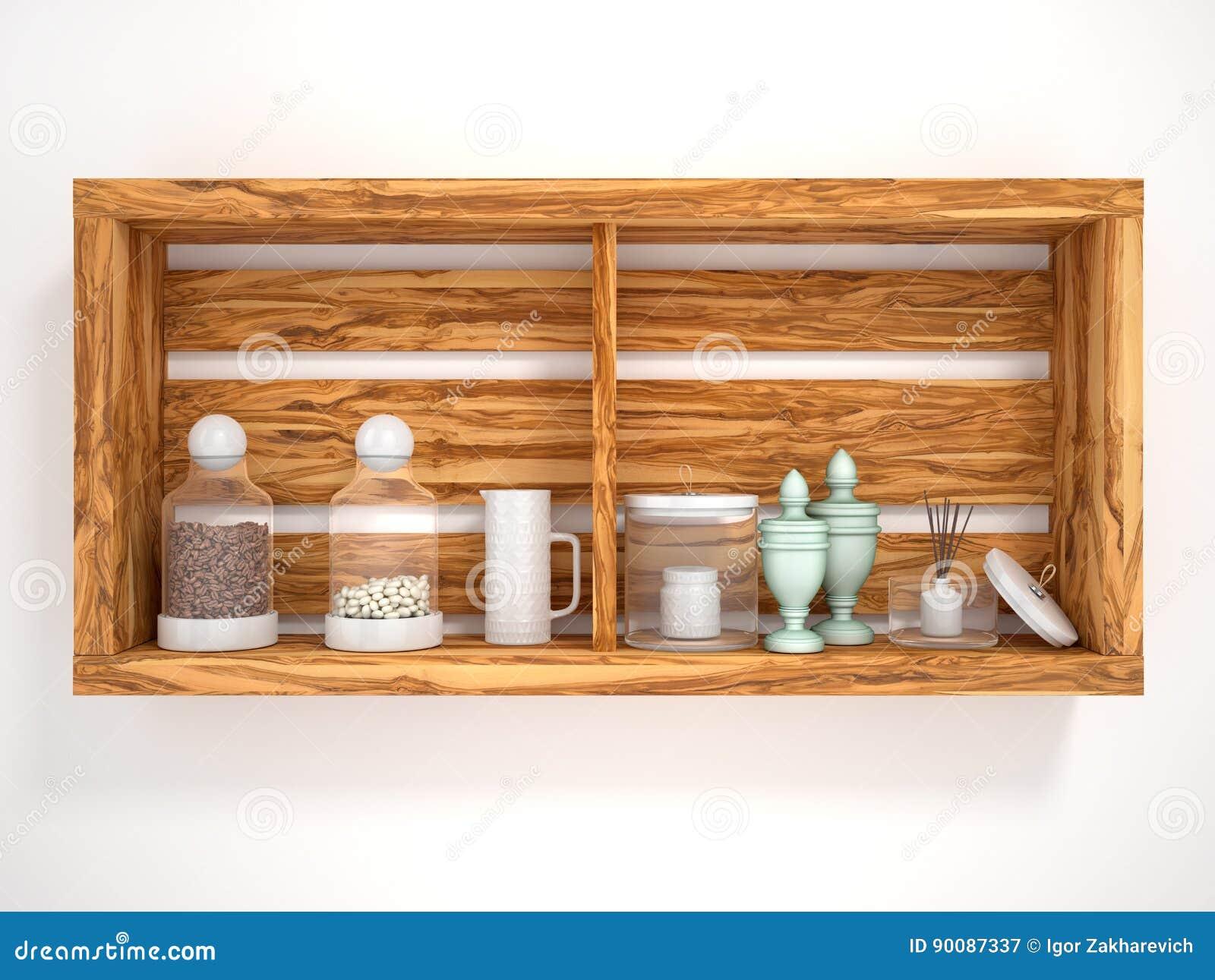 Estantes abiertos de madera con los objetos decorativos for Objetos decorativos para oficina