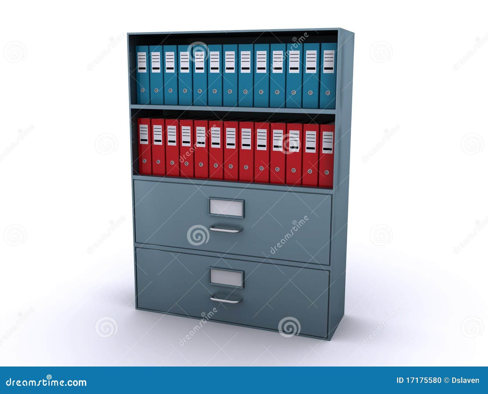 Estantes con los ficheros de la oficina foto de archivo for Ficheros para oficina