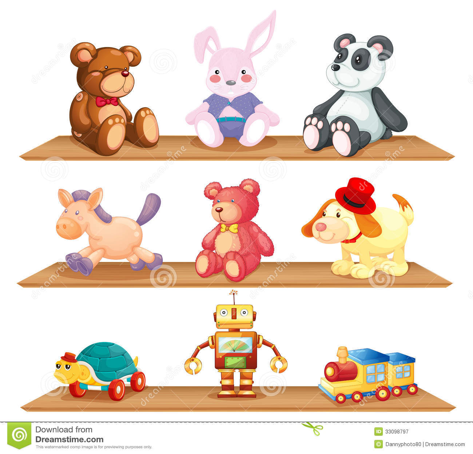 Estantes de madera con diversos juguetes ilustraci n del - Estantes para guardar juguetes ...