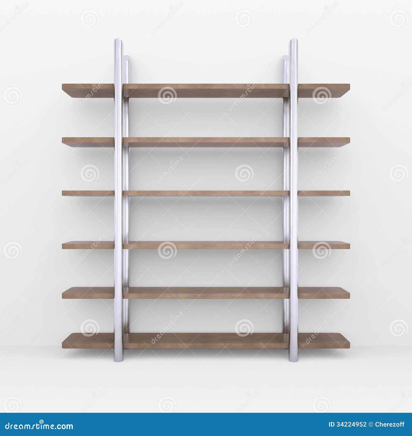 Estantes de madera con los soportes del metal fotograf a - Soportes de estanterias ...