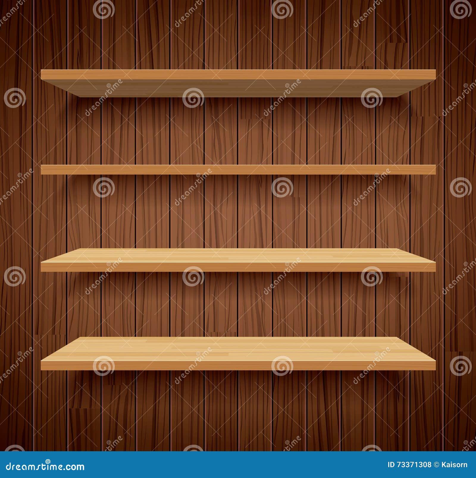 Estantes de madera en dise o plano del fondo de madera - Estantes de madera para pared ...