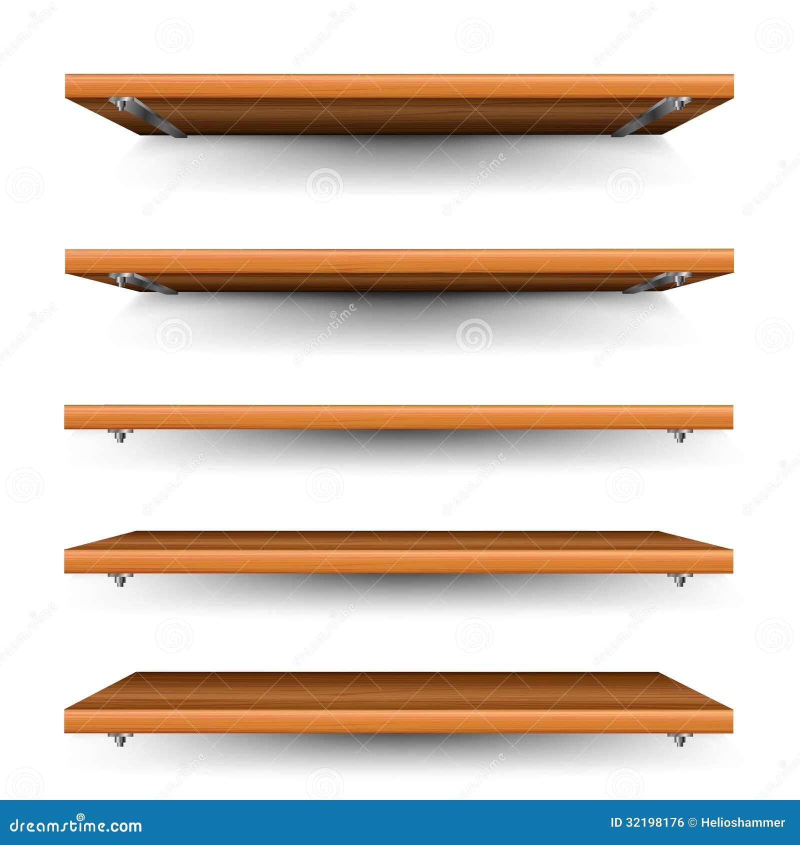 Estantes de madera fijados ilustraci n del vector - Soportes para estantes de madera ...
