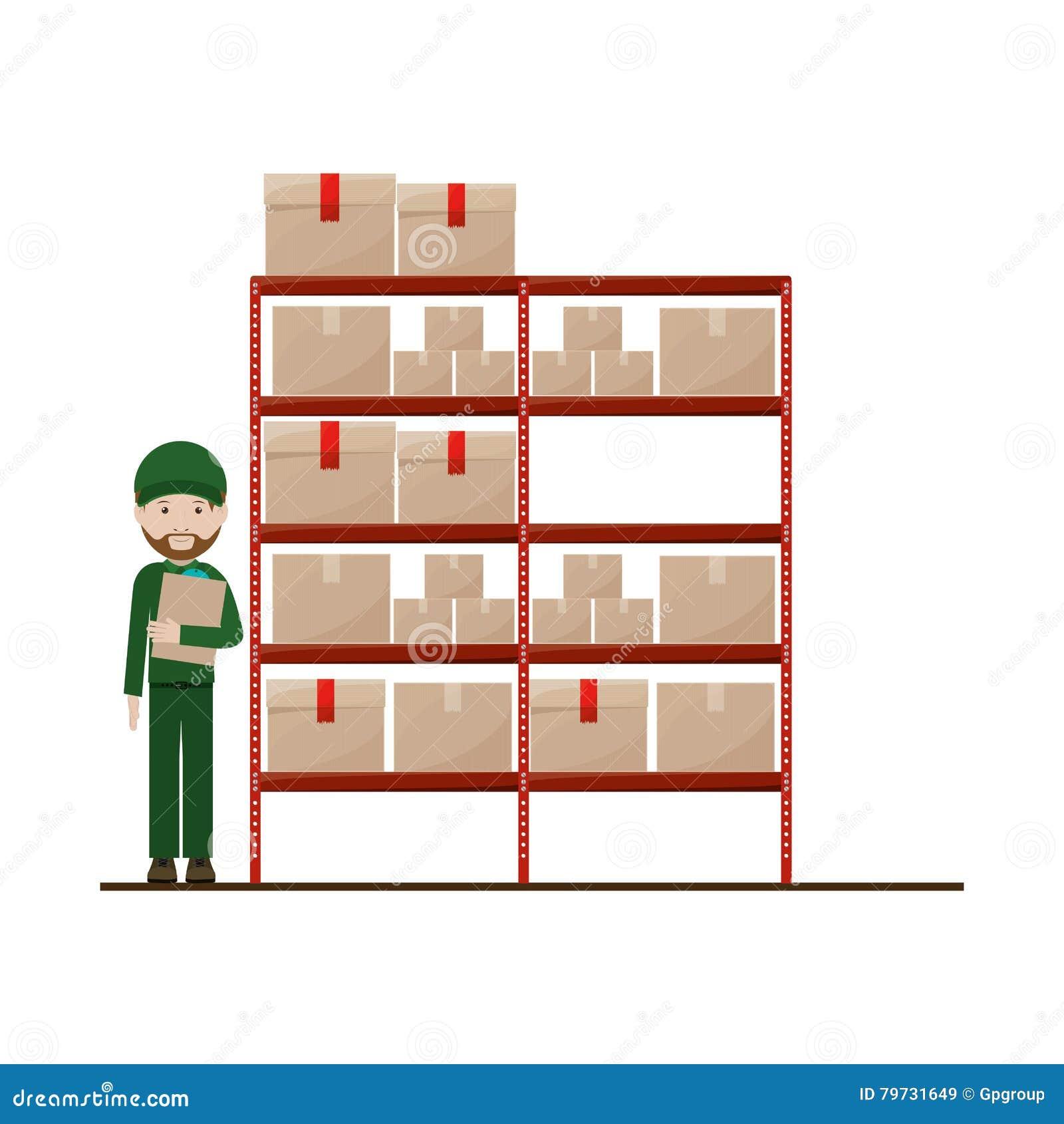 Estantes rojos con el paquete y el despachador sellados