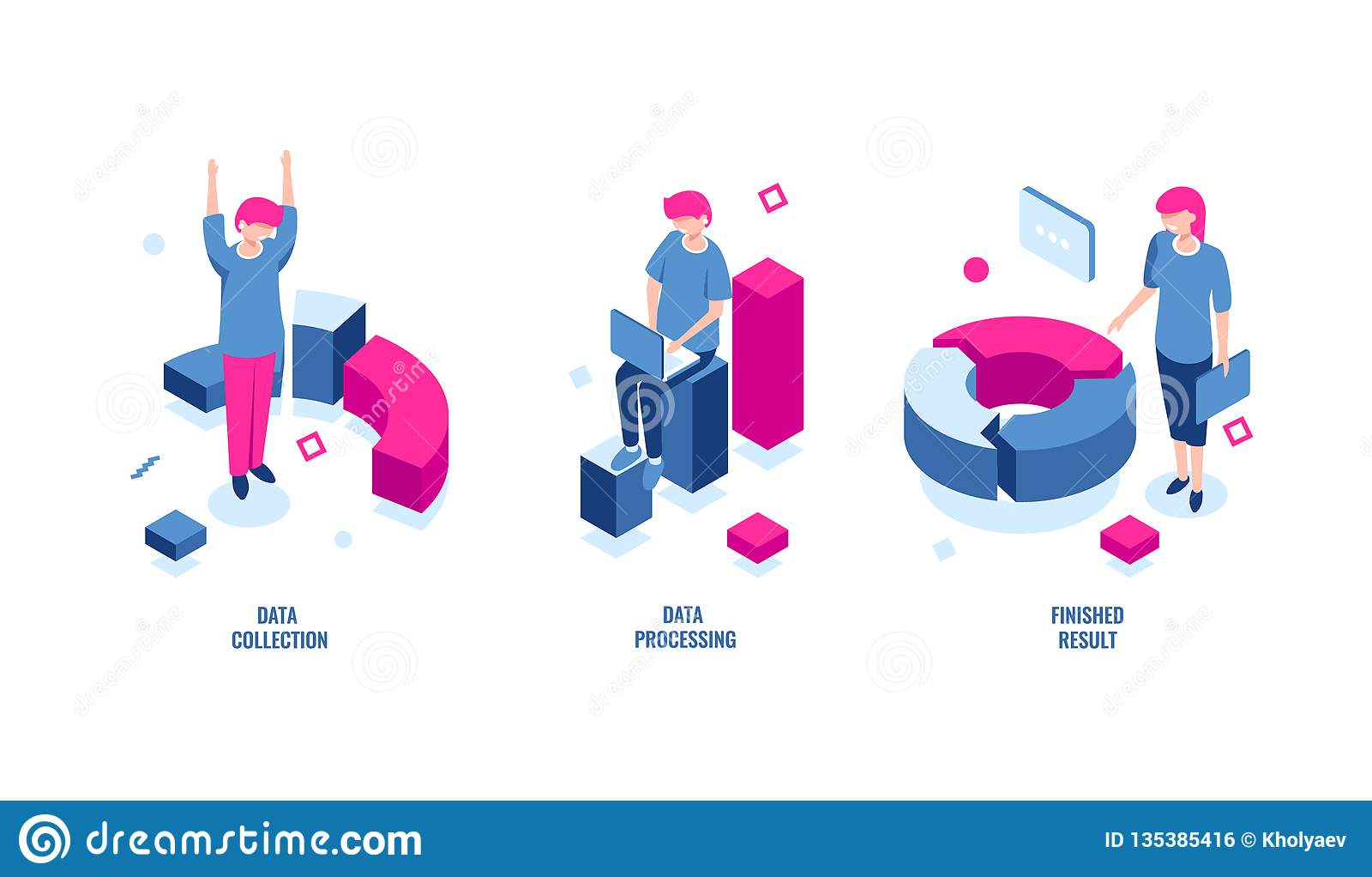 Estatísticas de negócio, levantamento de dados e ícone isométrico de processo de dados, resultado terminado, diagrama de carta, r