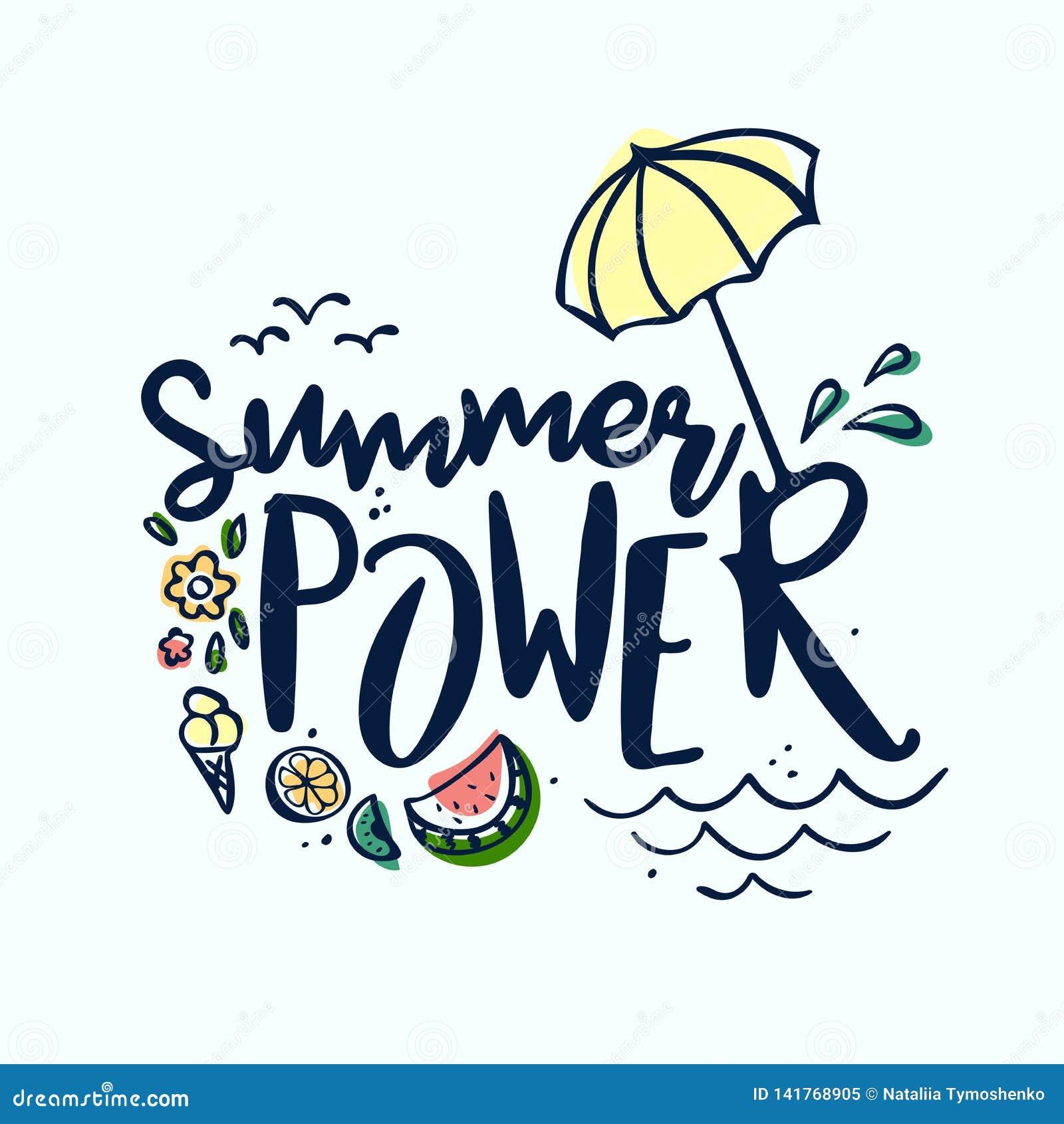 Estate che segna etichetta, logo, le etichette disegnate a mano e l insieme con lettere di elementi per la vacanza estiva, viaggi