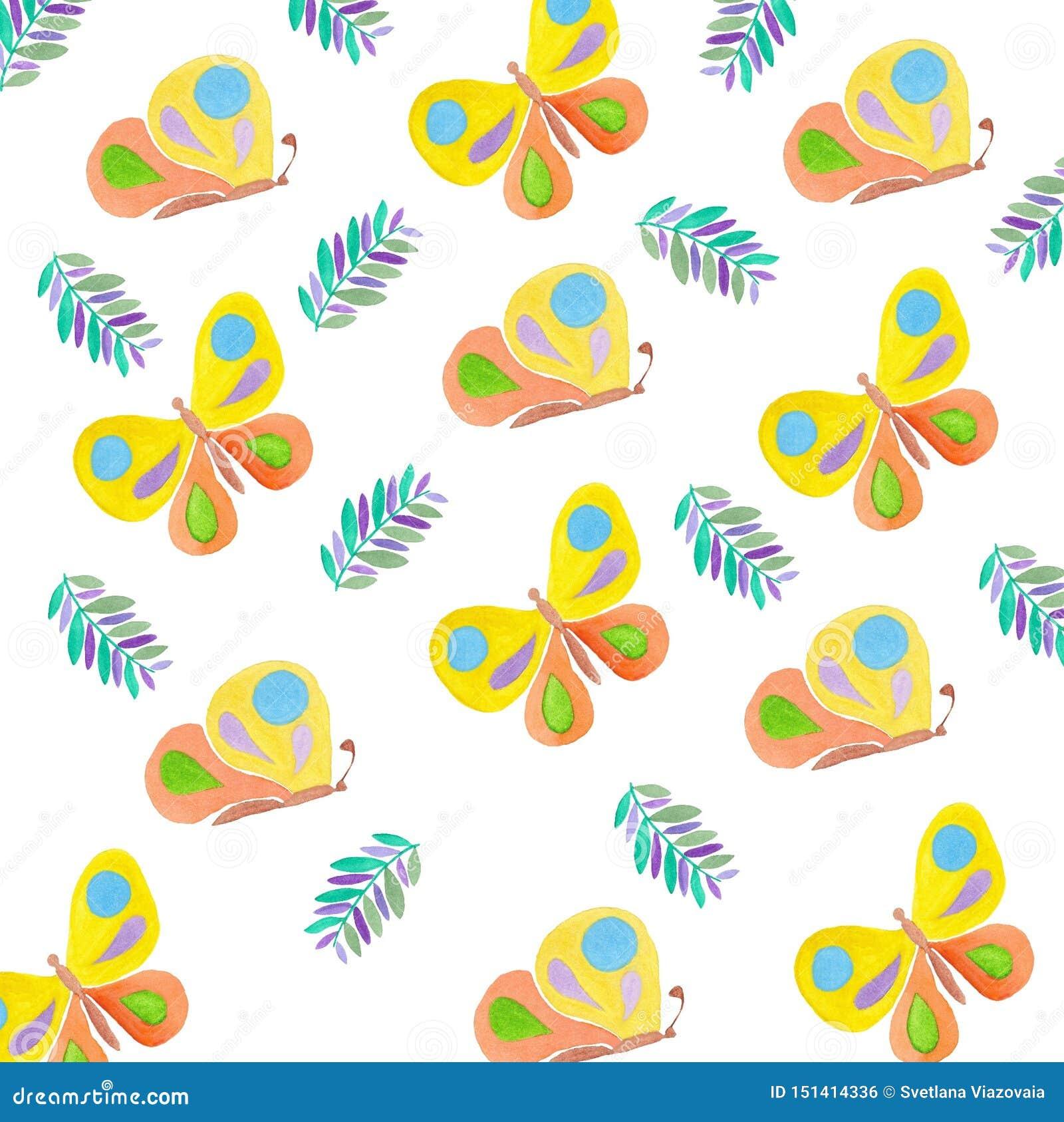 Estate di disegno dell acquerello degli insetti del modello di farfalle