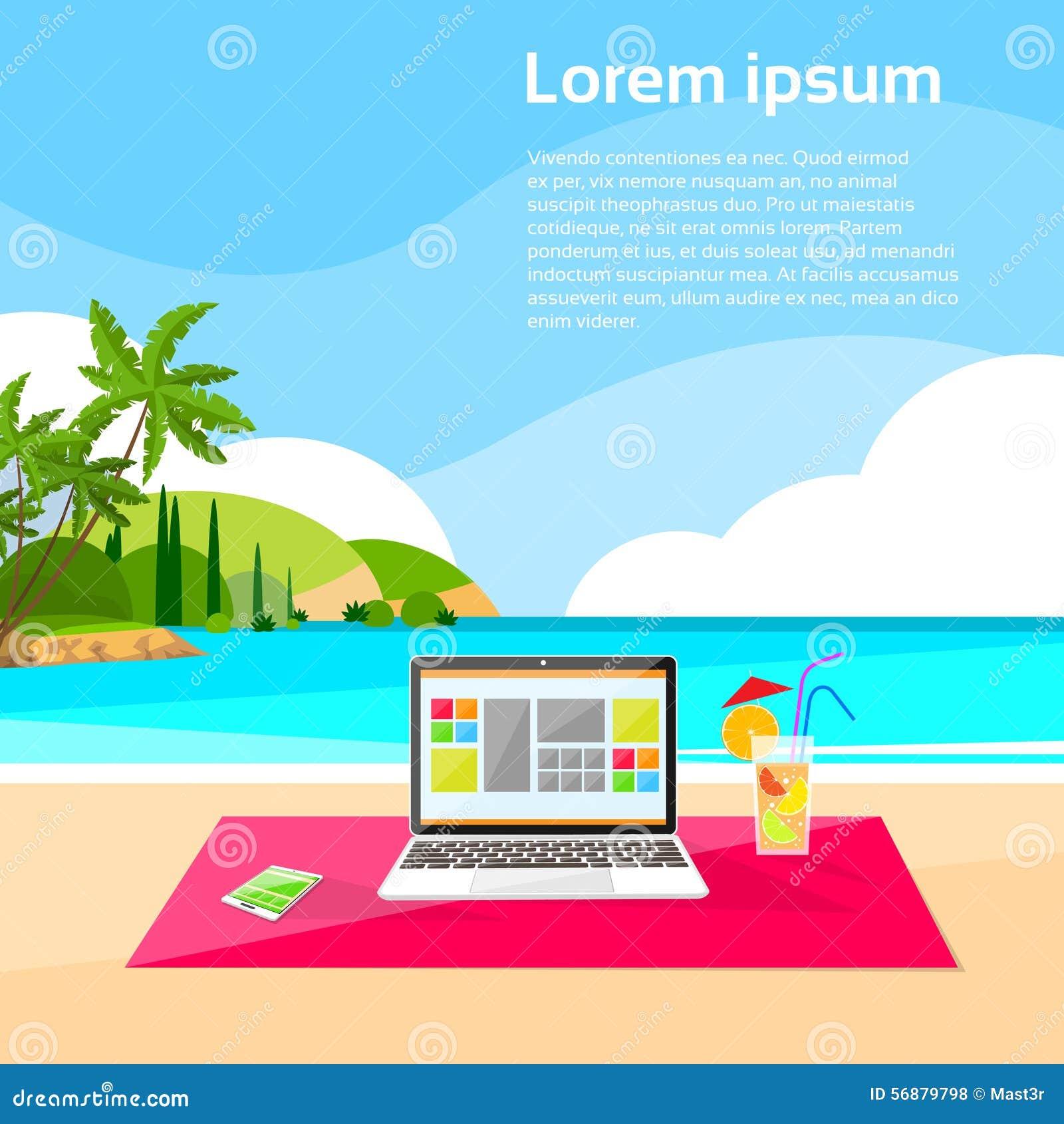Estate indipendente del posto del lavoro a distanza della spiaggia del computer portatile