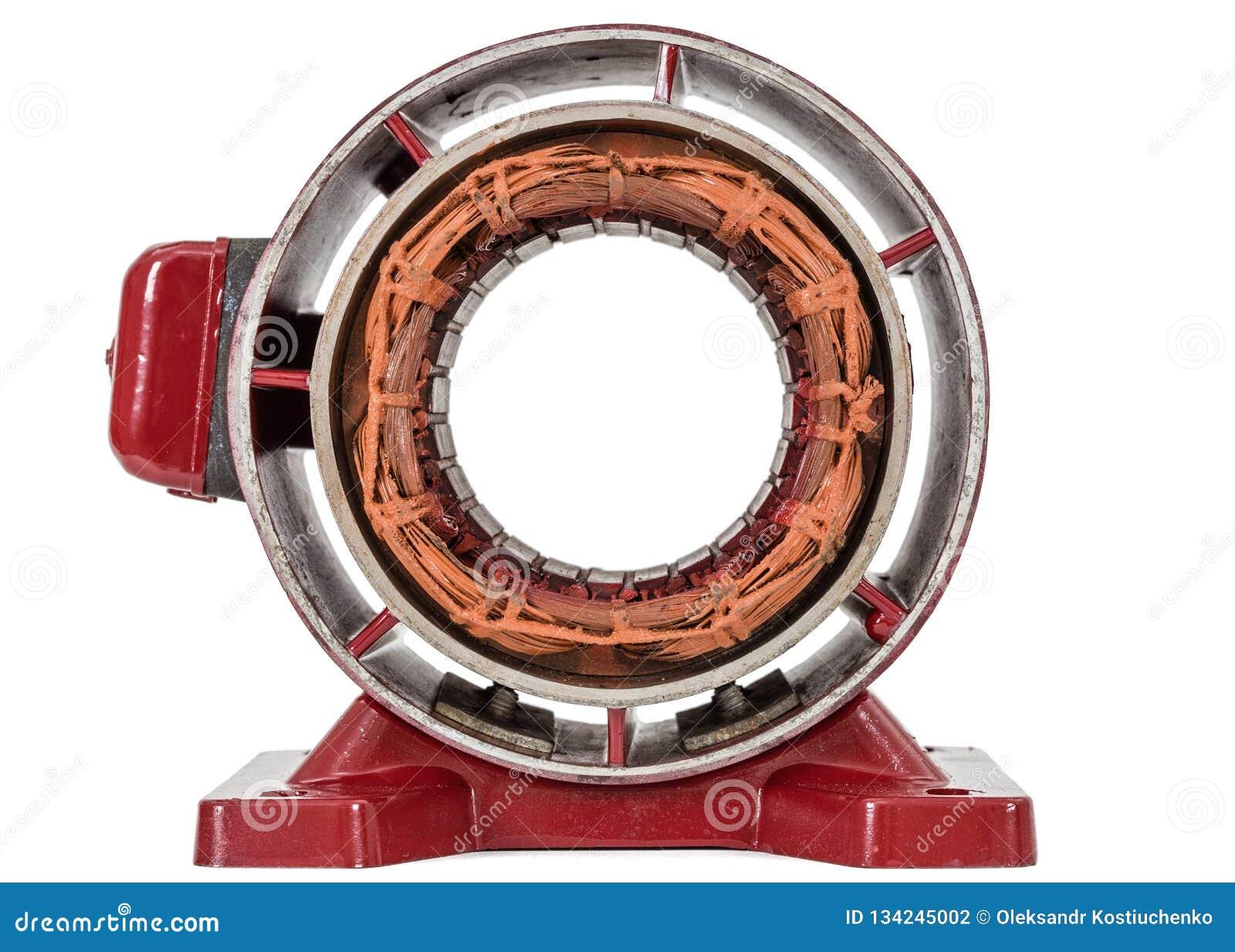 Estator do motor elétrico, isolado no fundo branco
