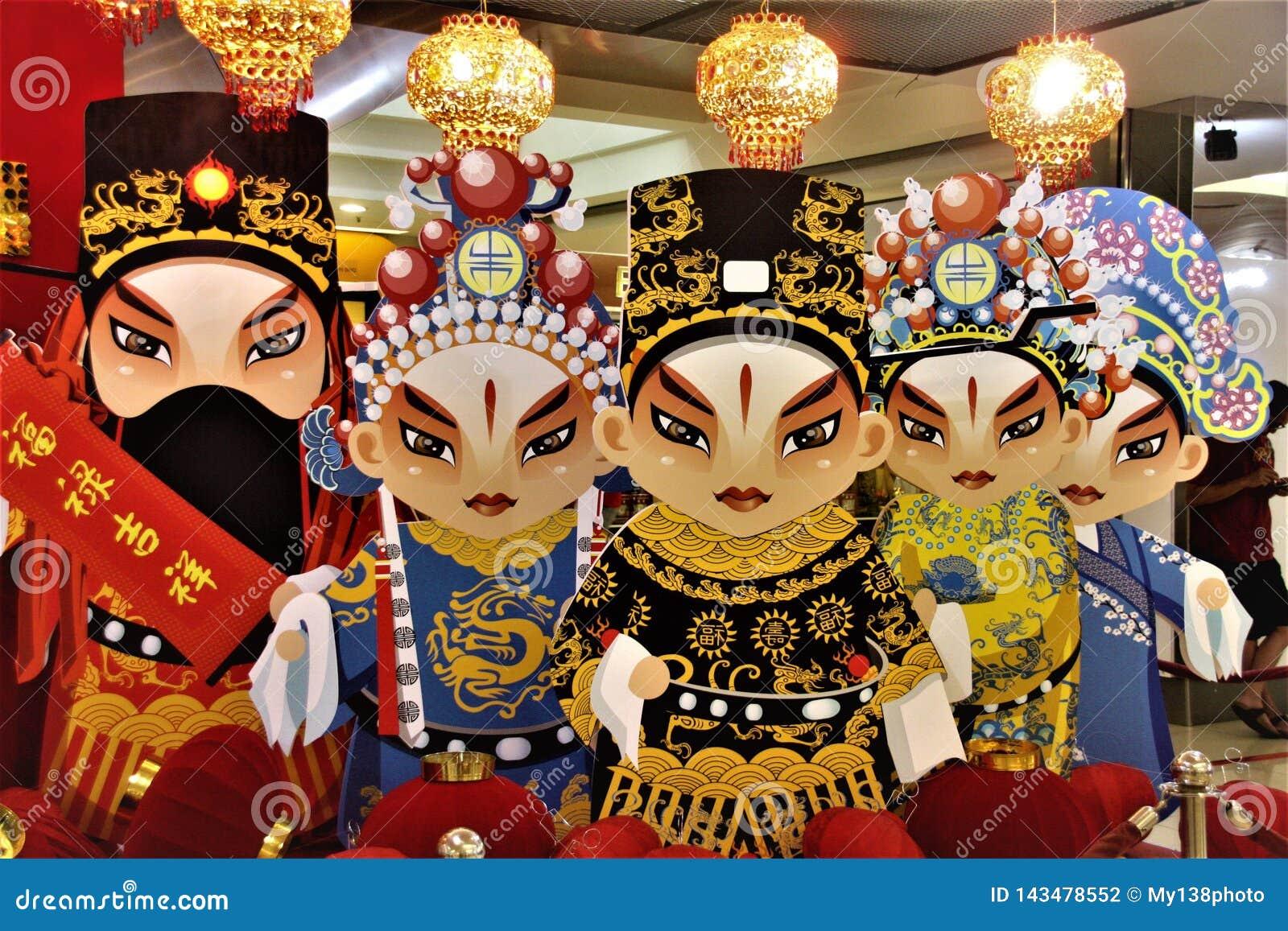 Estatua china del papel de la ópera