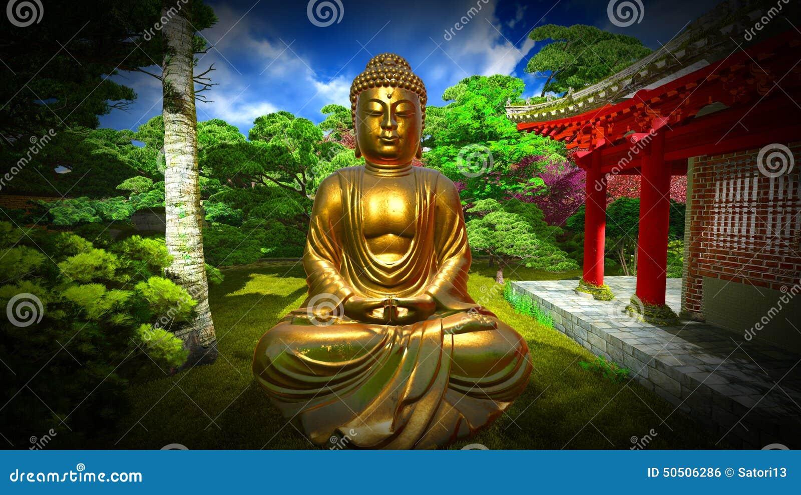 Estatua De Buda En Jardn Japons Stock de ilustracin Ilustracin