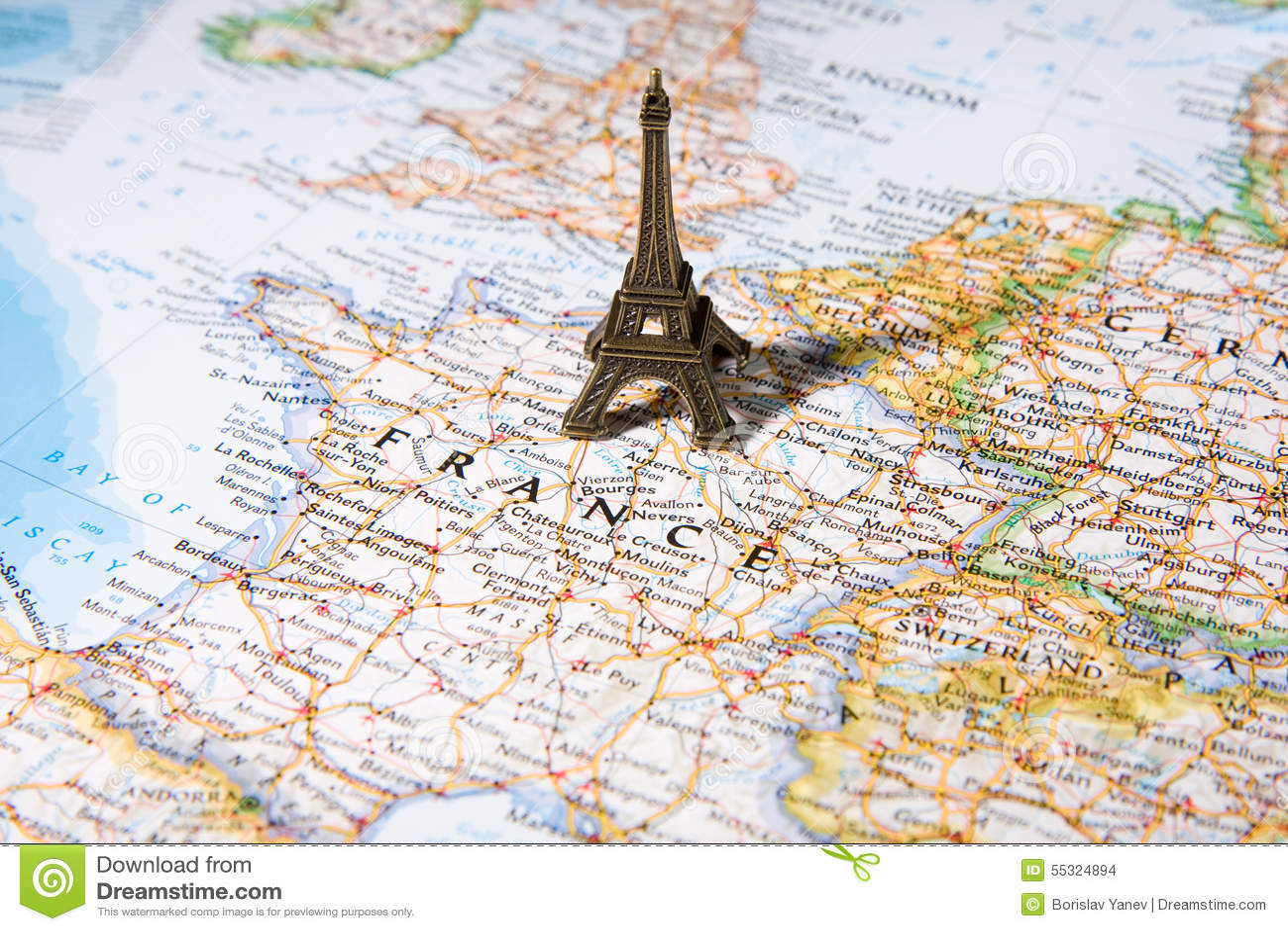 mapa paris torre eiffel Estatua De La Torre Eiffel En Un Mapa, París La Mayoría De La  mapa paris torre eiffel