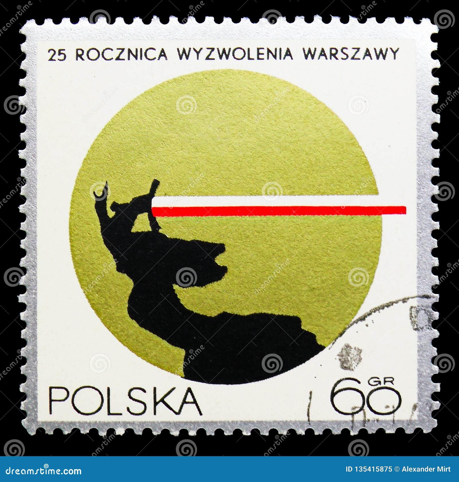 excusa querido matar  Estatua De Nike Y De Los Colores Polacos, Liberación De Varsovia, 25to  Serie Del Aniversario, Circa 1970 Imagen editorial - Imagen de diseño,  antigüedad: 135415875