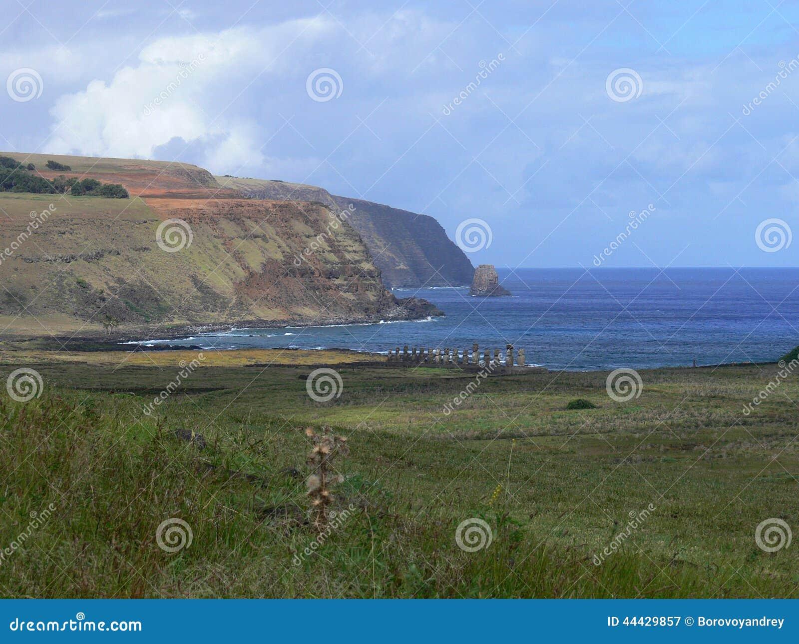 Estatuas de la piedra de Moai en Rapa Nui