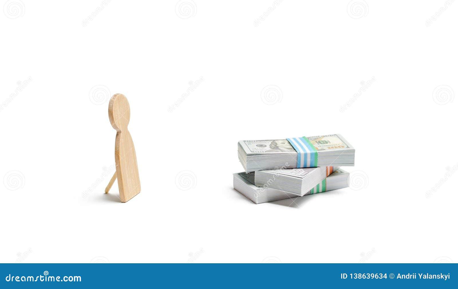 Estatueta humana falsificada e uma pilha de dinheiro Shader, início de uma sessão desautorizado e retiradas O ladrão rouba fundos
