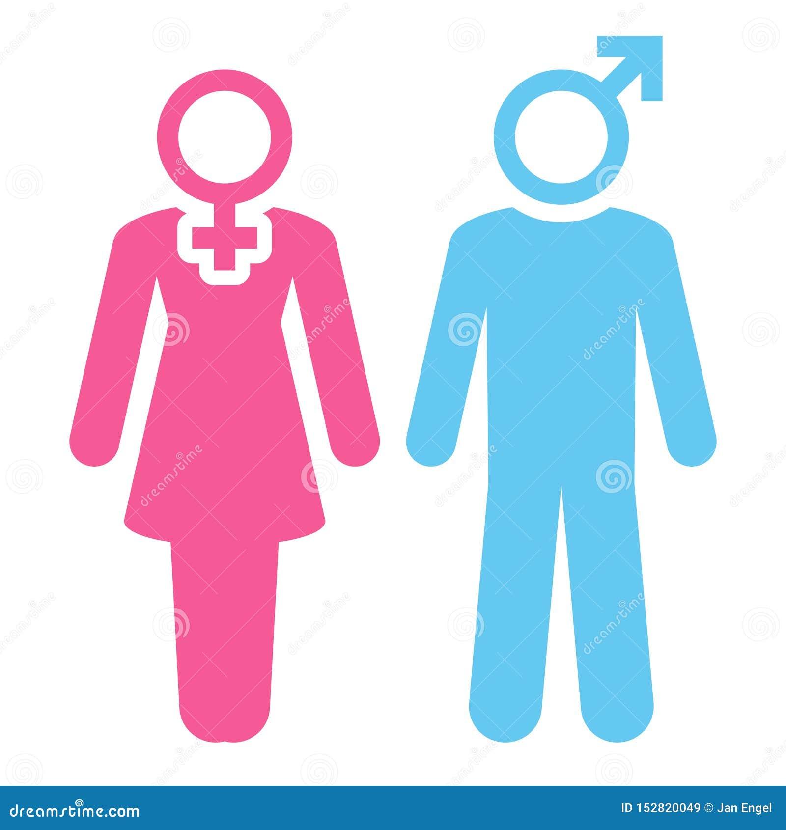 Estatuetas mulher e ícones rosa do homem e azul