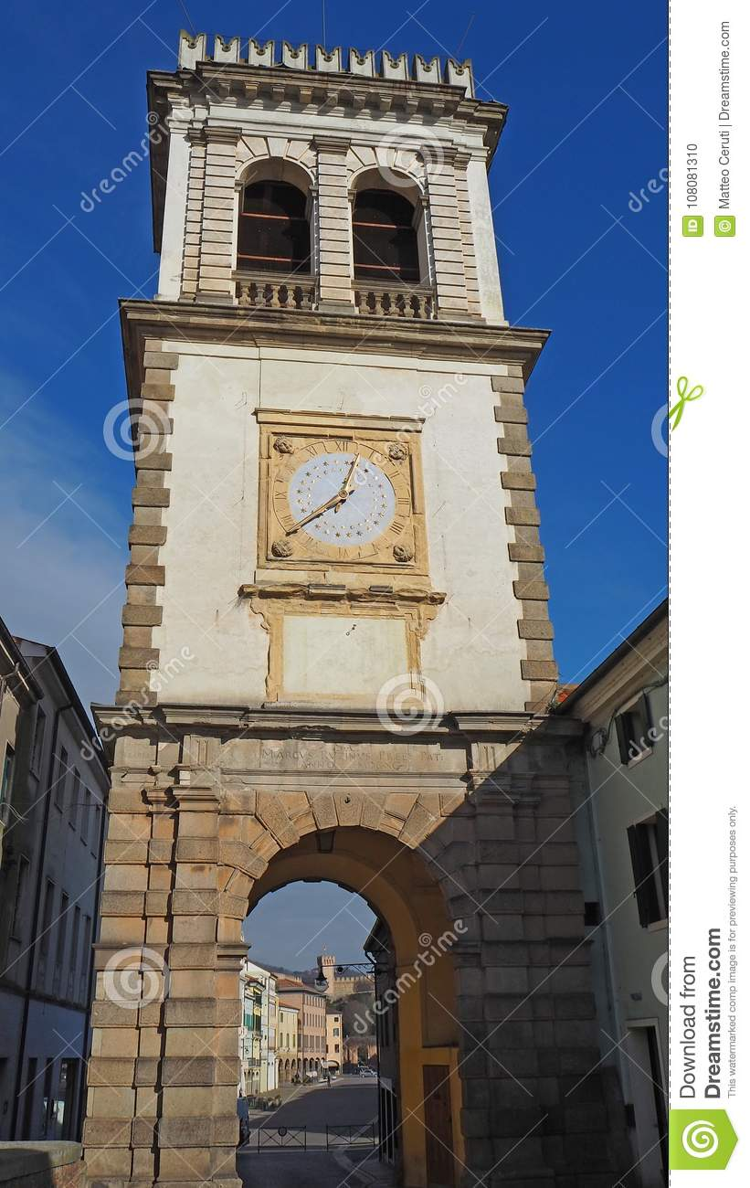 Este, Padova, Italy. The old clock tower used as a door to the village