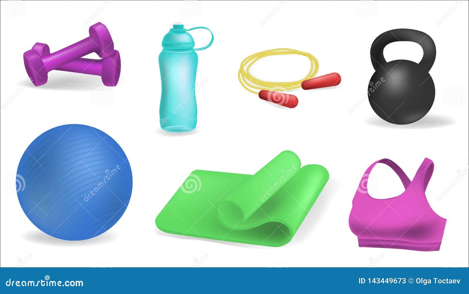 Esteira da ioga de Clipart, bola da aptidão, esportes garrafa de água, pesos Bandeiras horizontais do fitness center ajustadas Eq