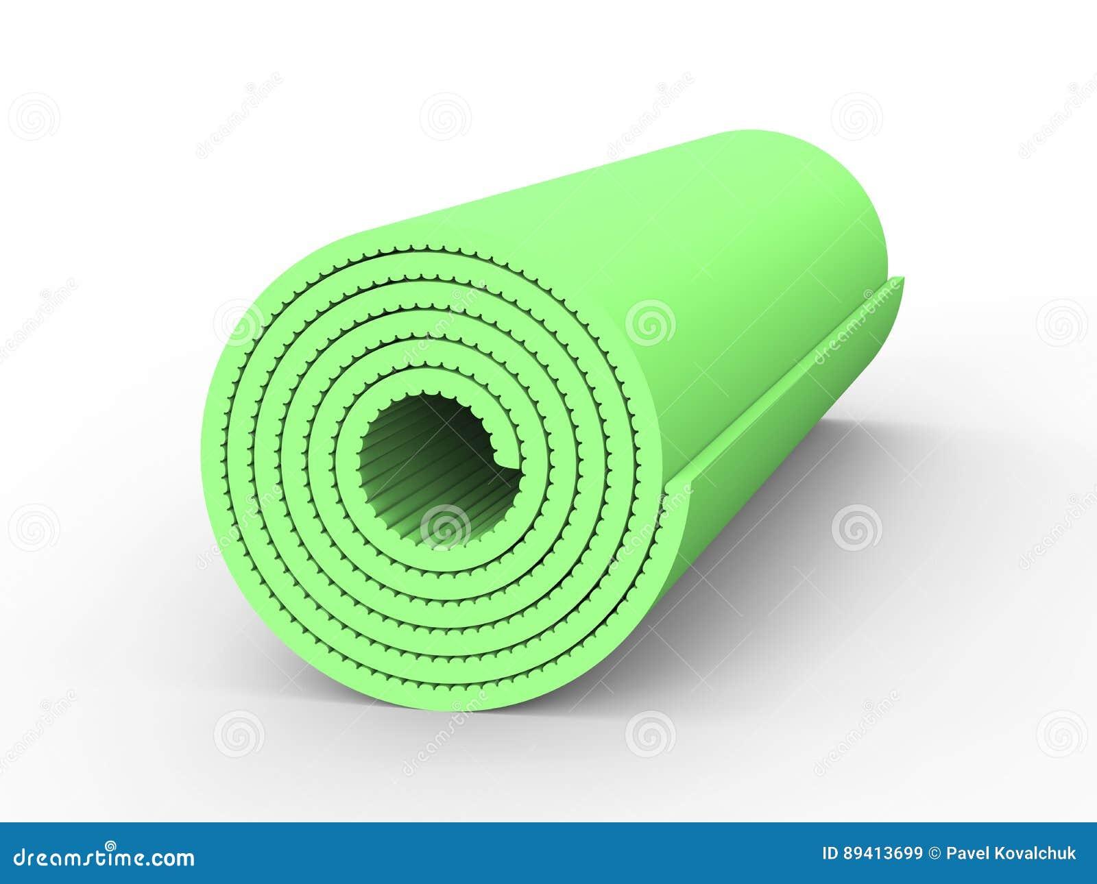 Esteira da ioga do verde da ilustração 3D