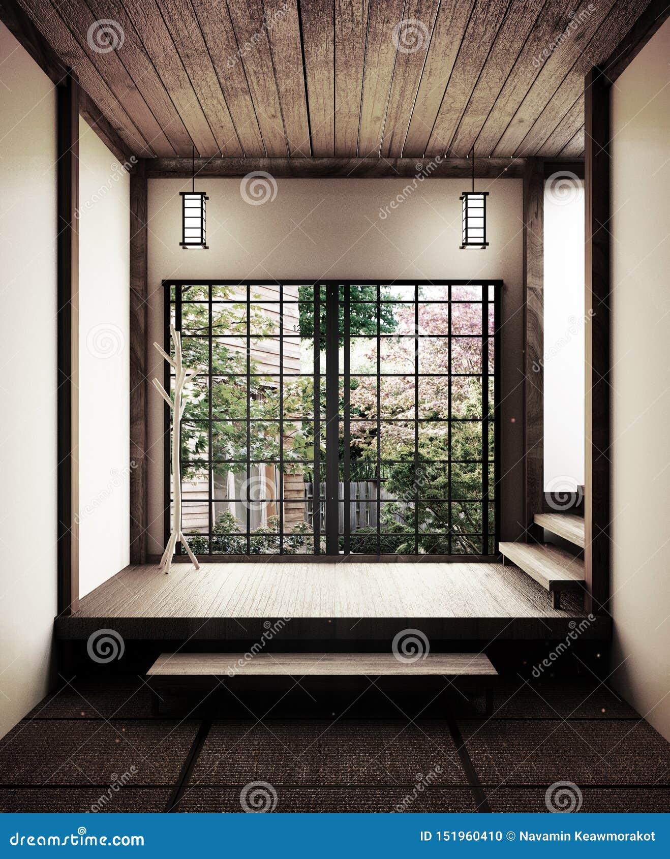 Esteira de tatami vazia japonesa da sala que projeta o mais bonito rendi??o 3d