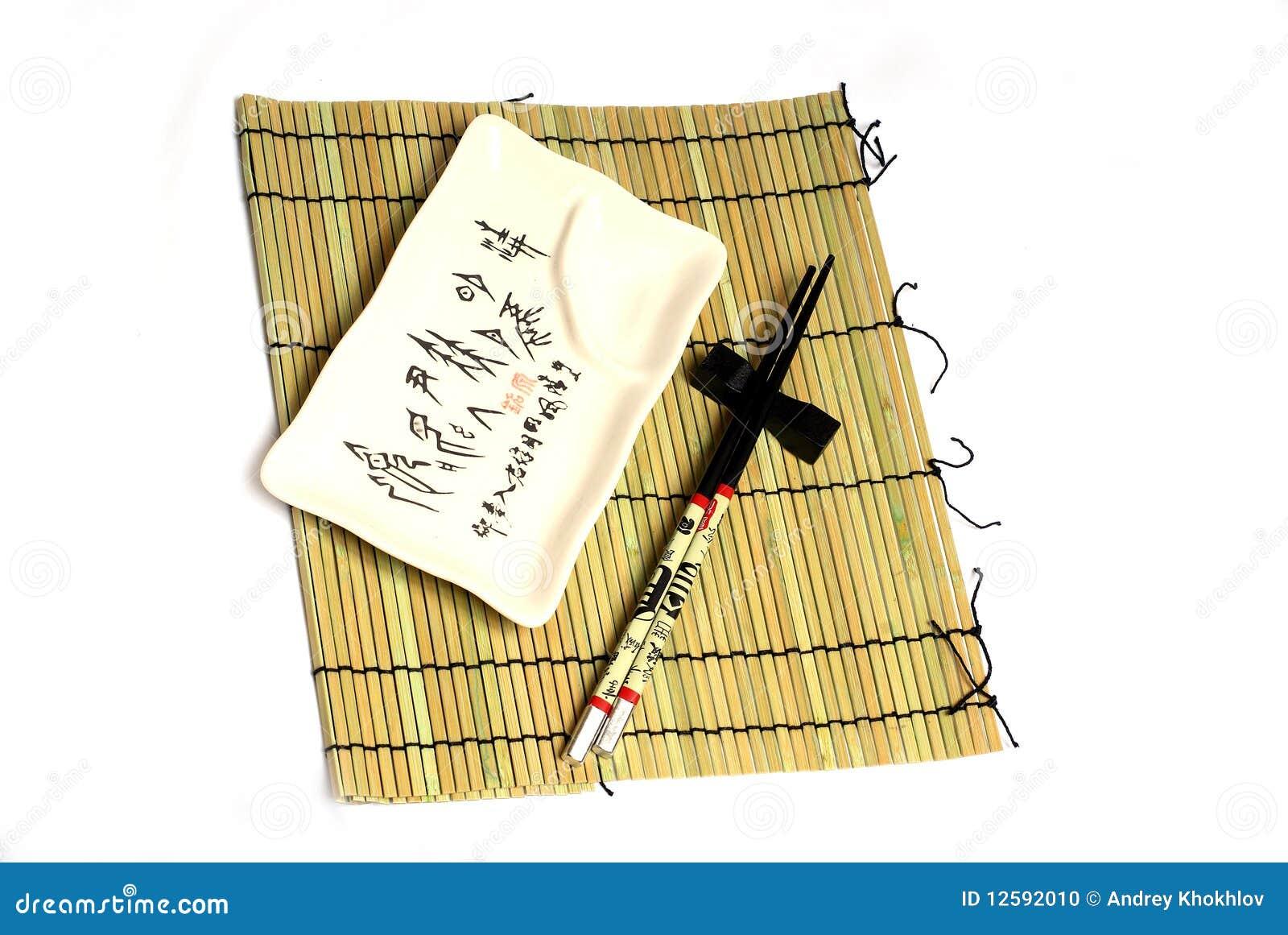 Esteira dos Chopsticks, do utensílio e a de bambu