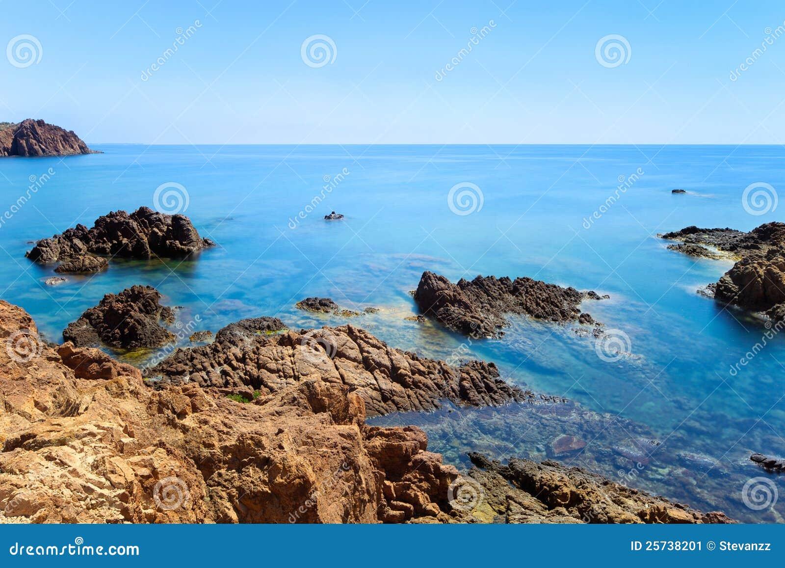 Esterel rock coast. Cote Azur, Provence, France.