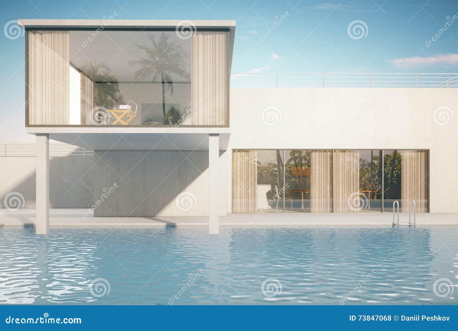 Esterno della casa con lo stagno illustrazione di stock for Esterno di casa