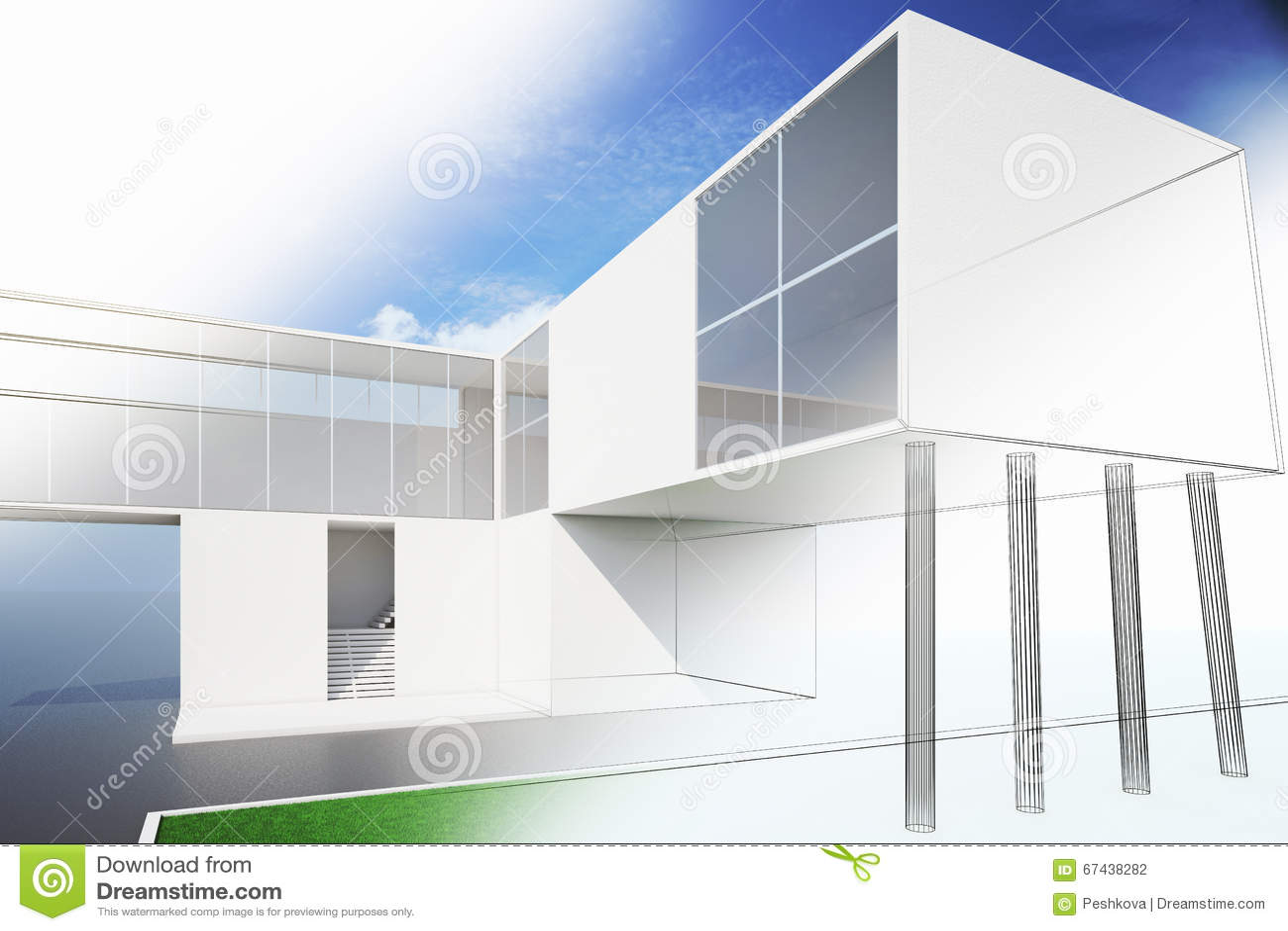 Esterno di una pianta della casa moderna illustrazione di for Esterno casa moderna