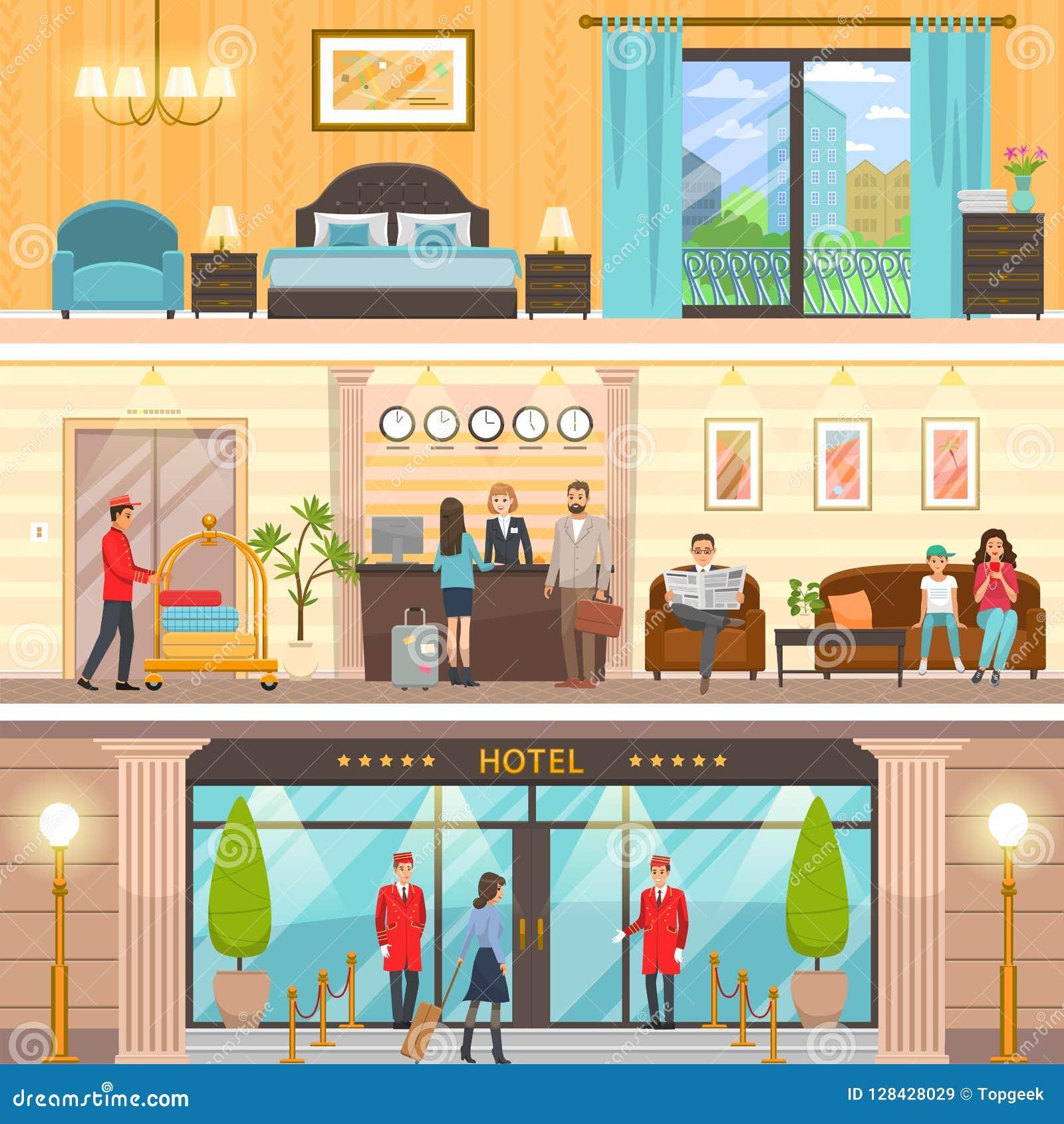 Esterno lussuoso dell hotel, ricezione ed insieme della stanza