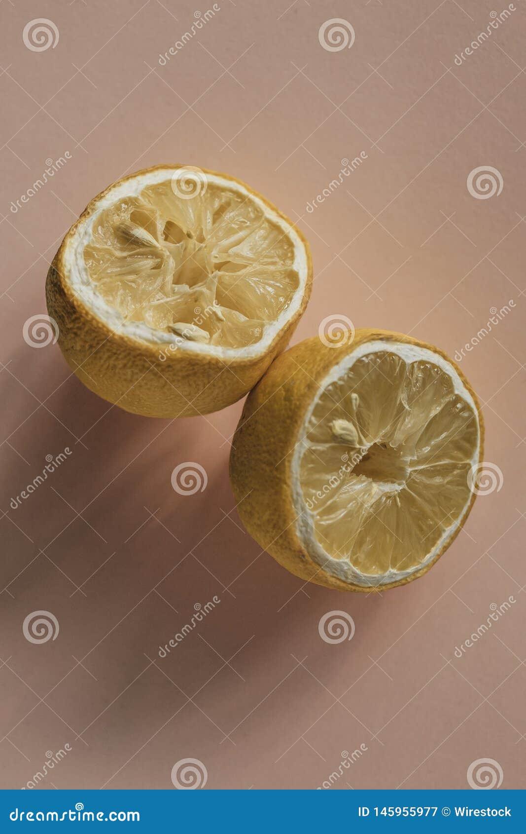 Estetisk torkad citron på en kräm- kulör bakgrund