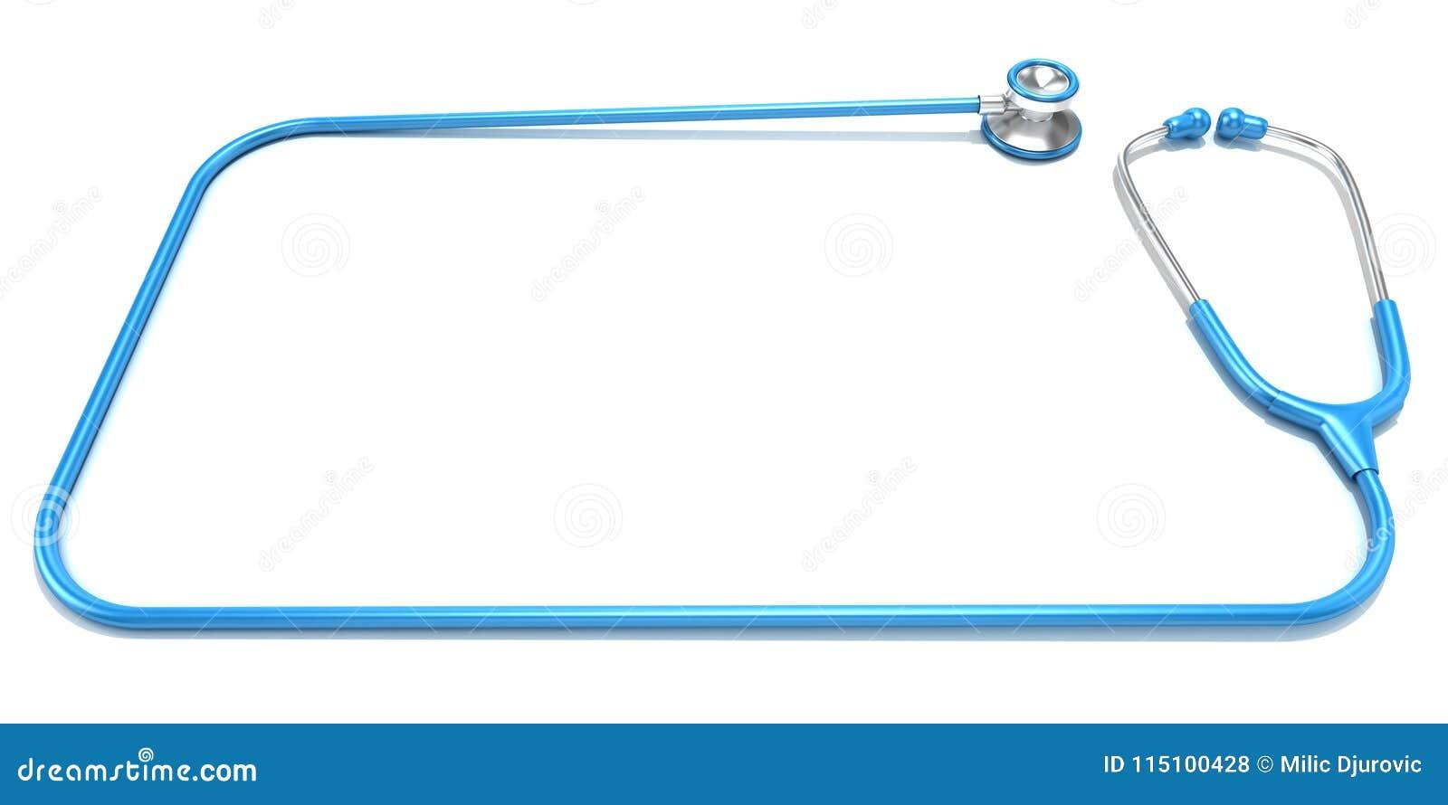 Estetoscópio azul como o quadro