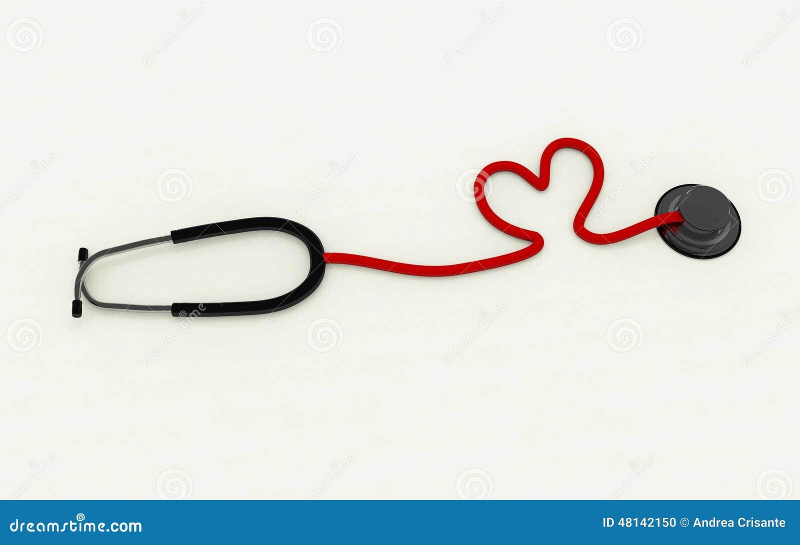 Estetoscopio En Forma De Corazón Stock De Ilustración