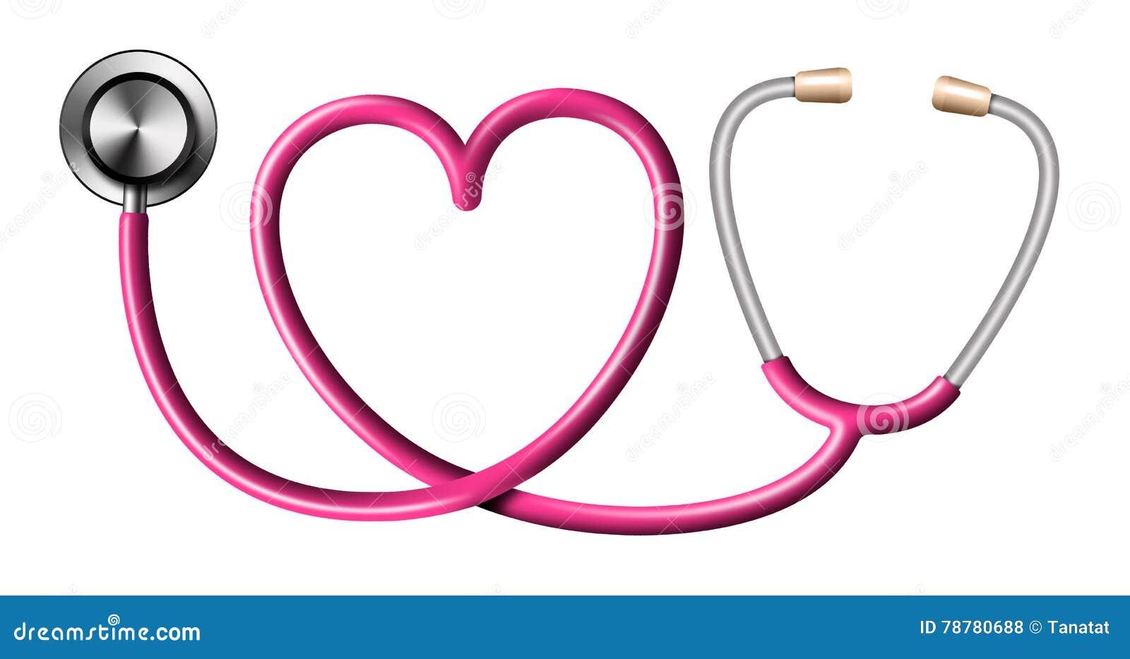 Estetoscopio Rosado En La Forma Del Corazón En Blanco