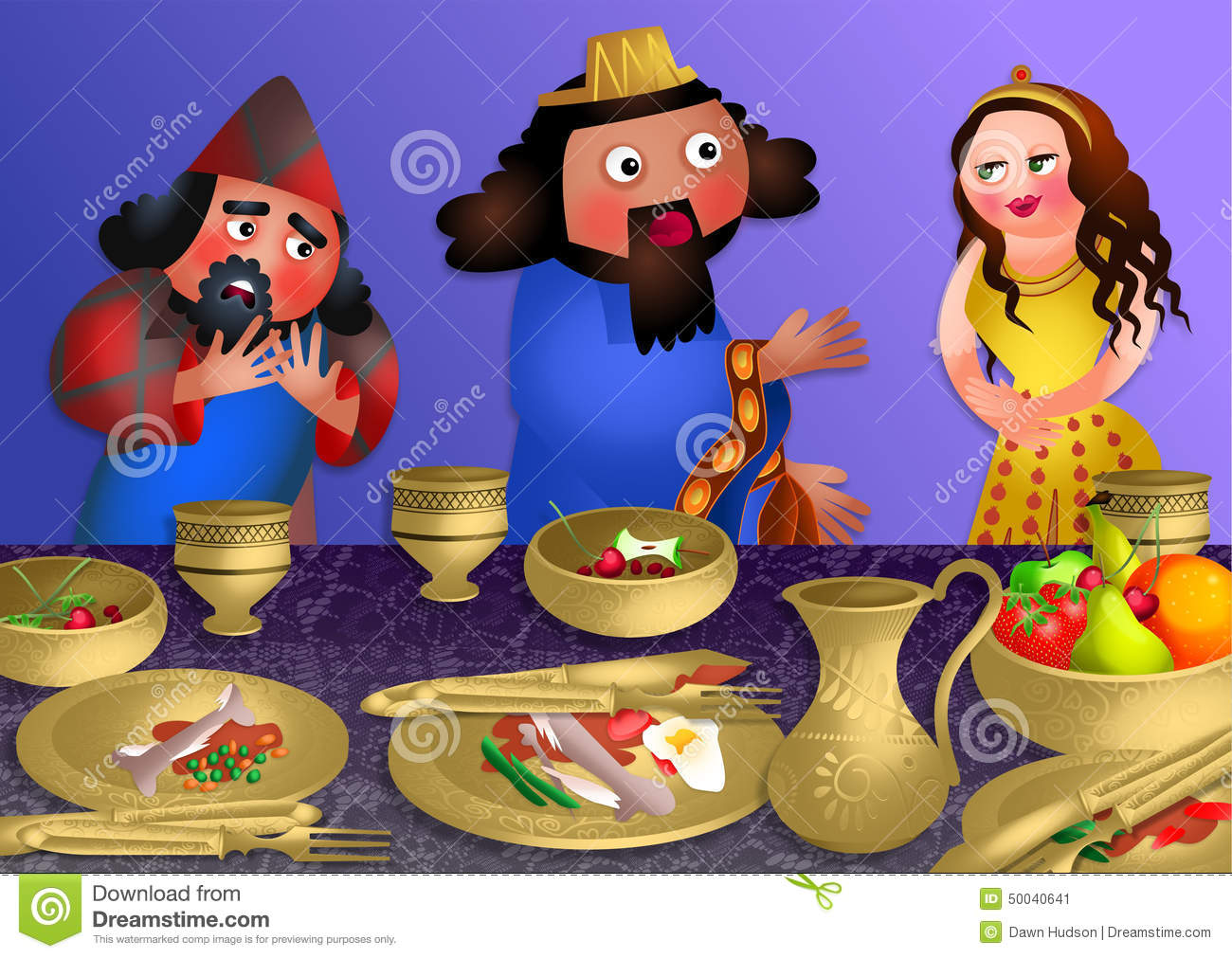 Esthers Banquet - Feast Of Purim Stock Illustration - Image: 50040641