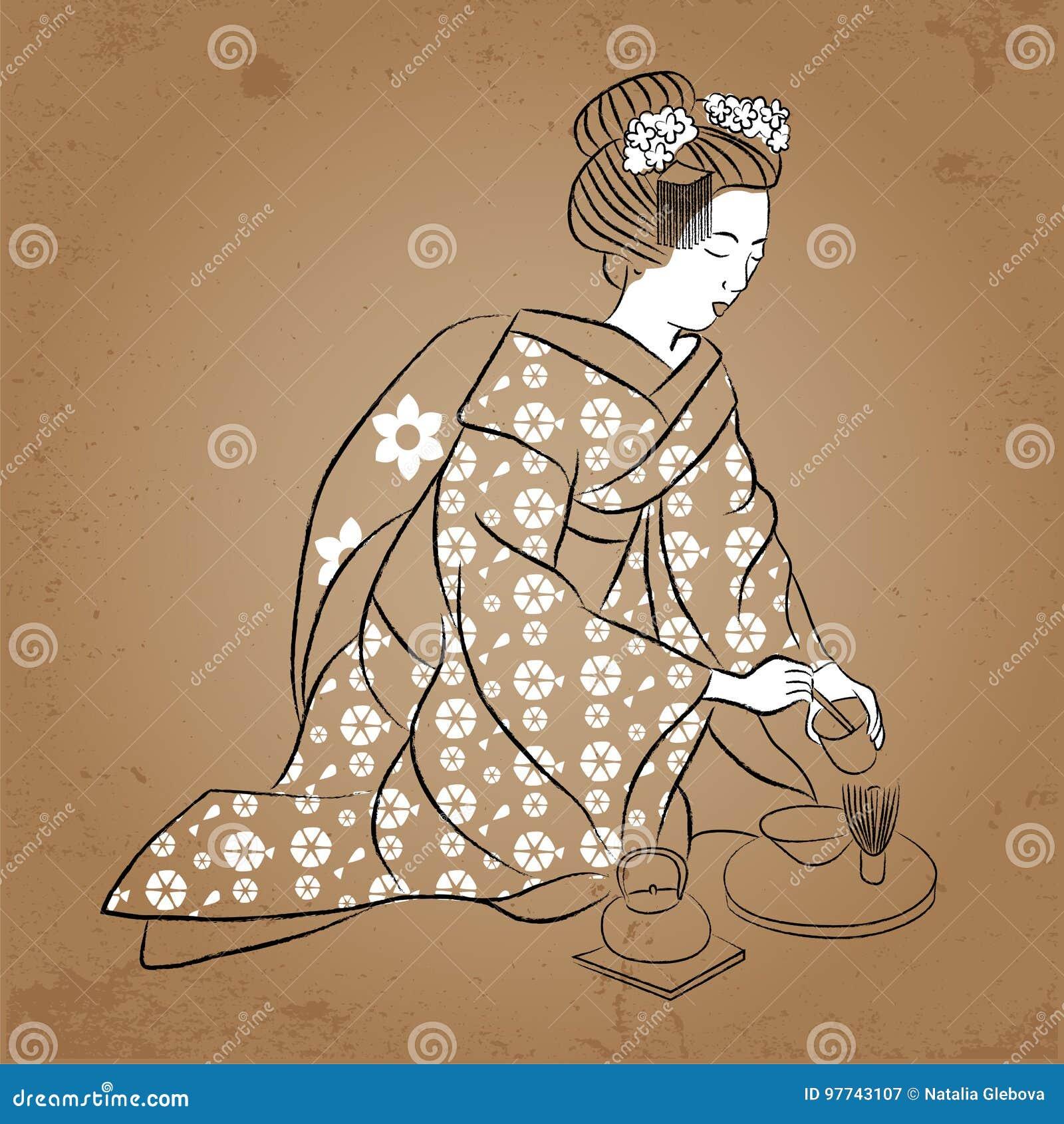 Estilo Antiguo De La Mujer Japonesa Clásica De Japan Del Geisha Del