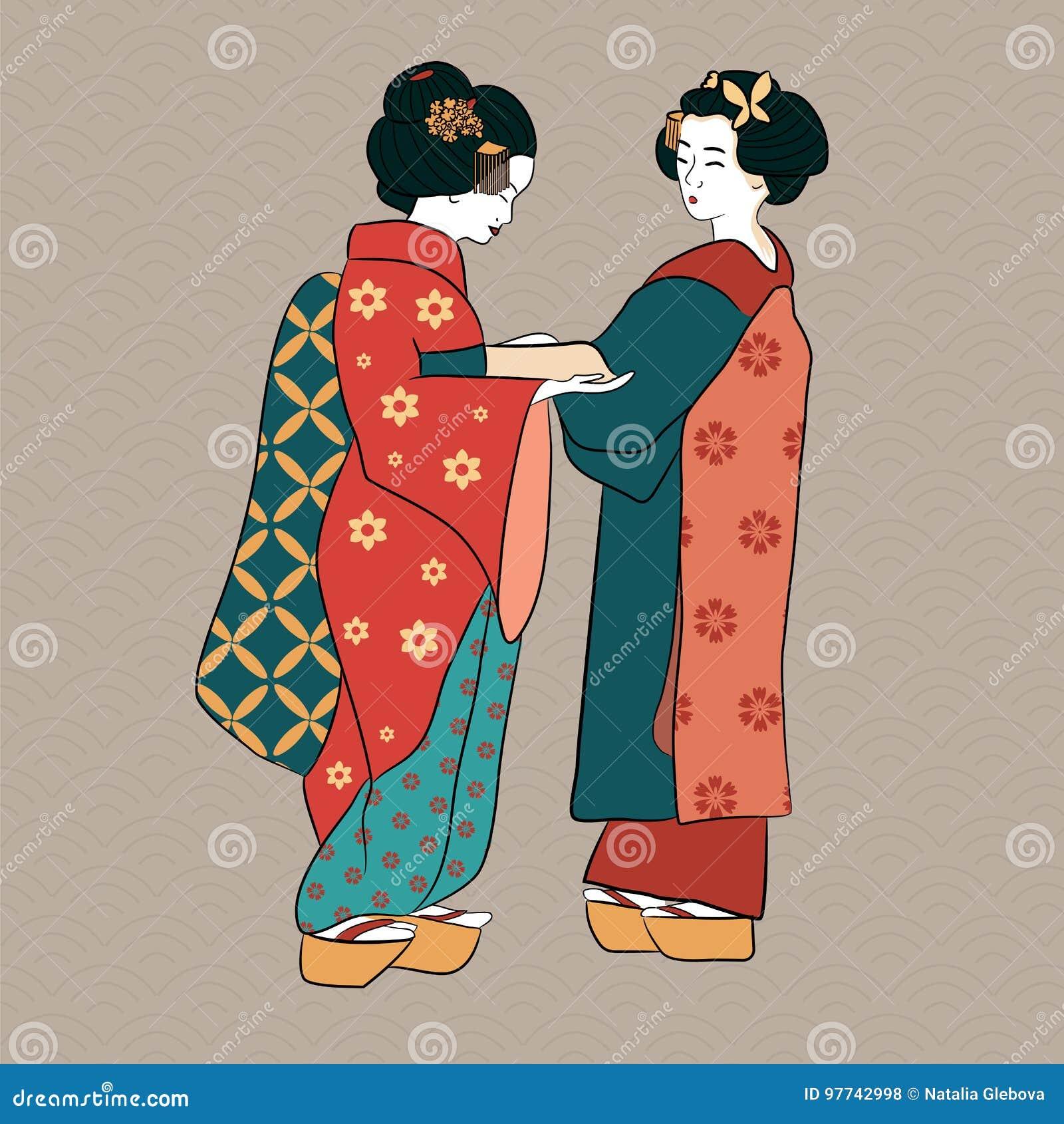 Estilo Antiguo De Las Mujeres Japonesas Clásicas De Japón De Los