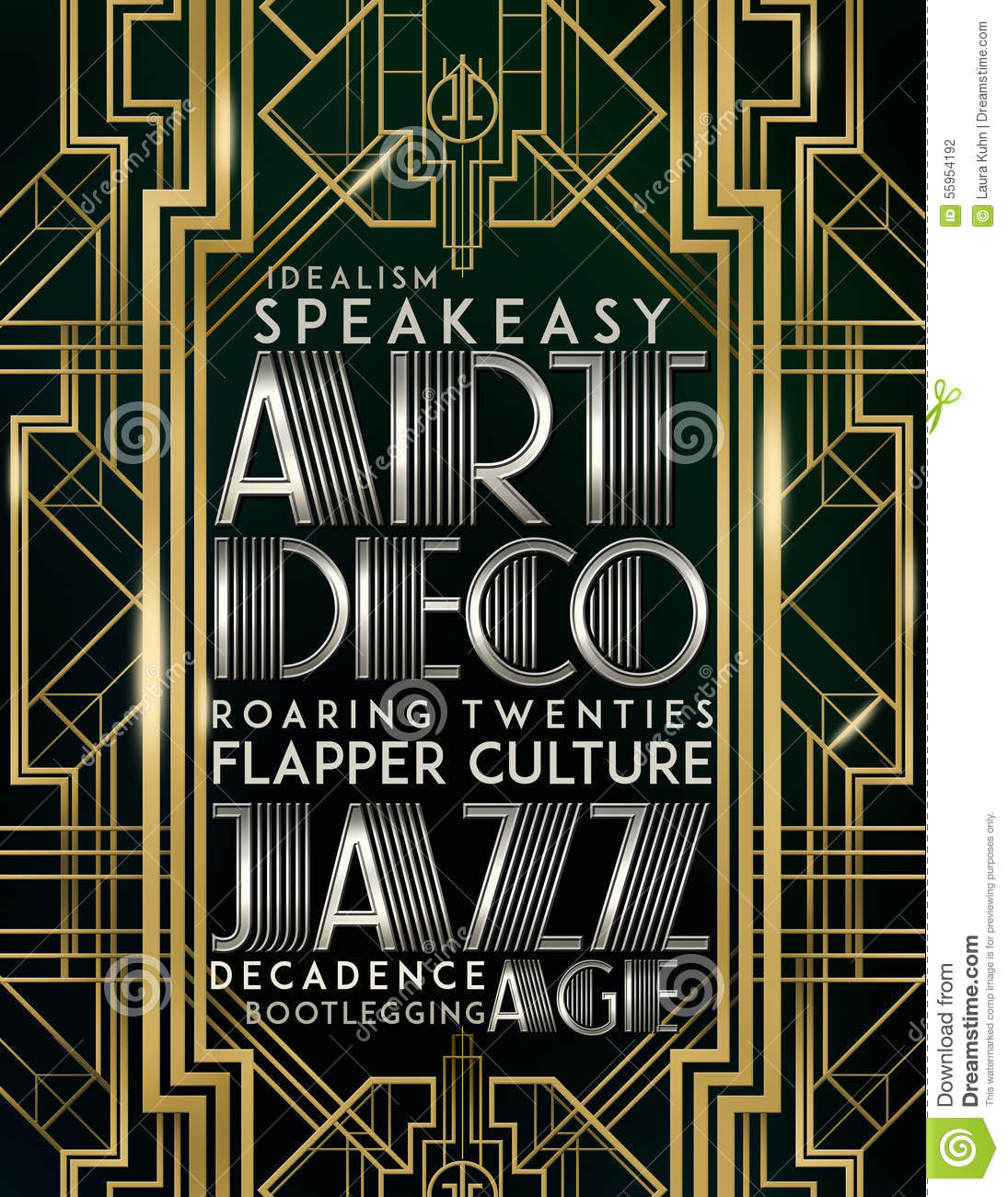 Estilo Art Deco Jazz Era de Gatsby