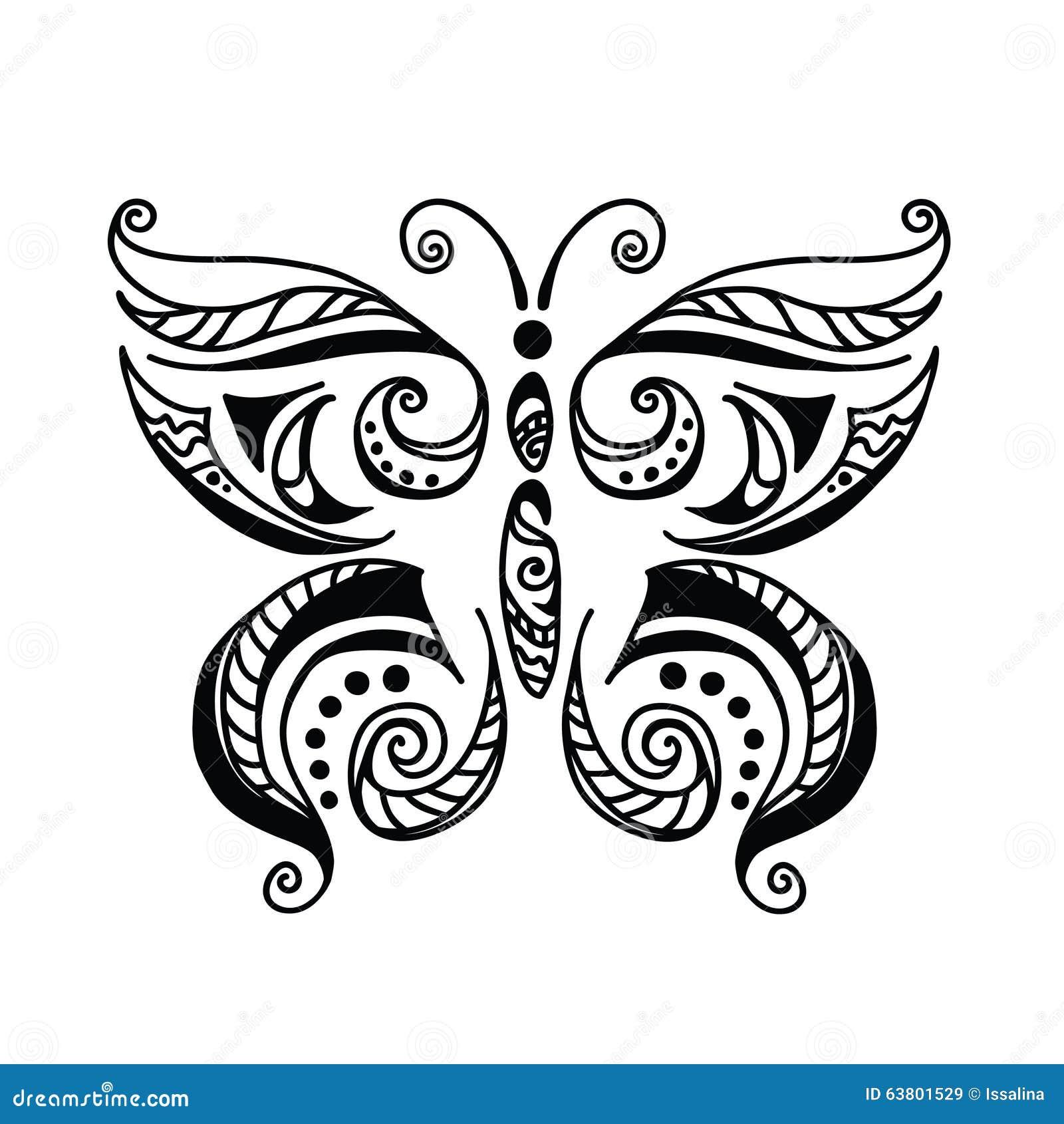 Estilo Blanco Y Negro Del Tatuaje De La Mariposa Ilustración Del