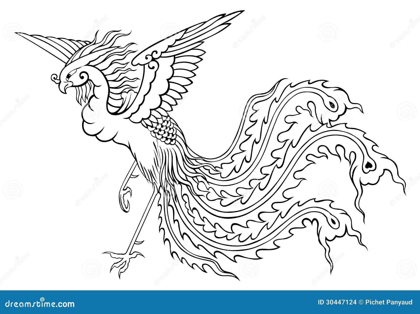 Estilo Chino De Phoenix Para Colorear Stock de ilustración ...