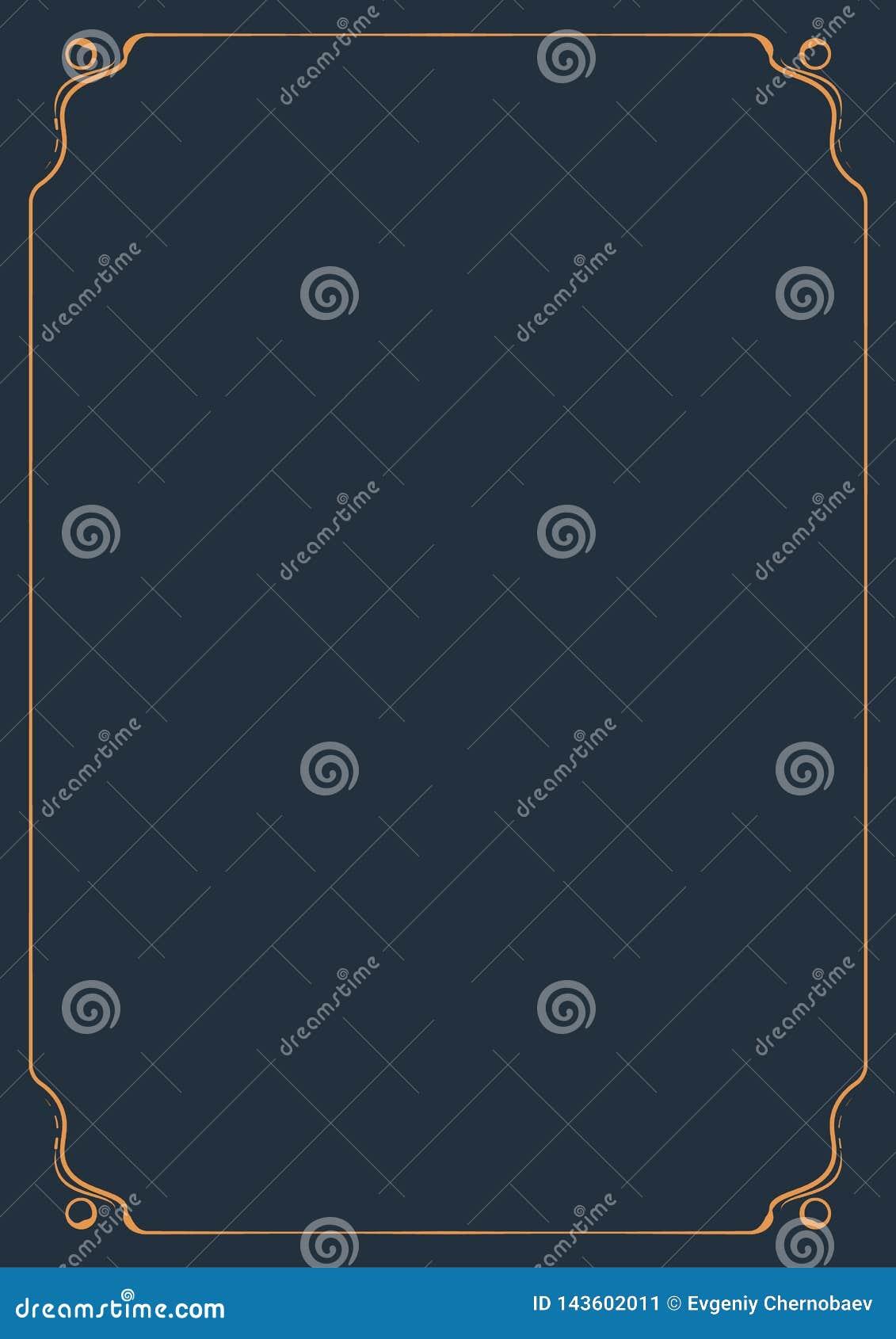 Estilo clásico del ornamento del marco anaranjado decorativo del vintage para la página A4 Capítulo del ornamento para el vector