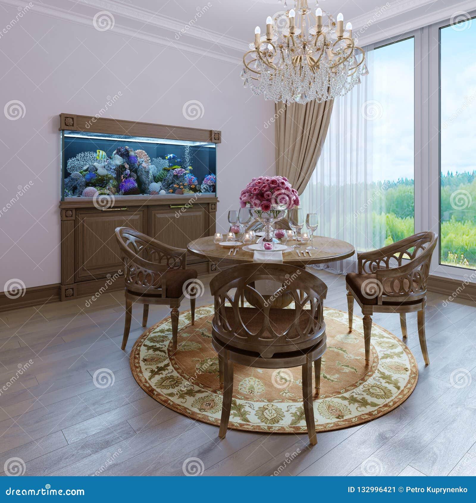Estilo clássico branco interior luxuoso da sala de jantar da cadeira marrom da parede e da mobília, candelabro clássico