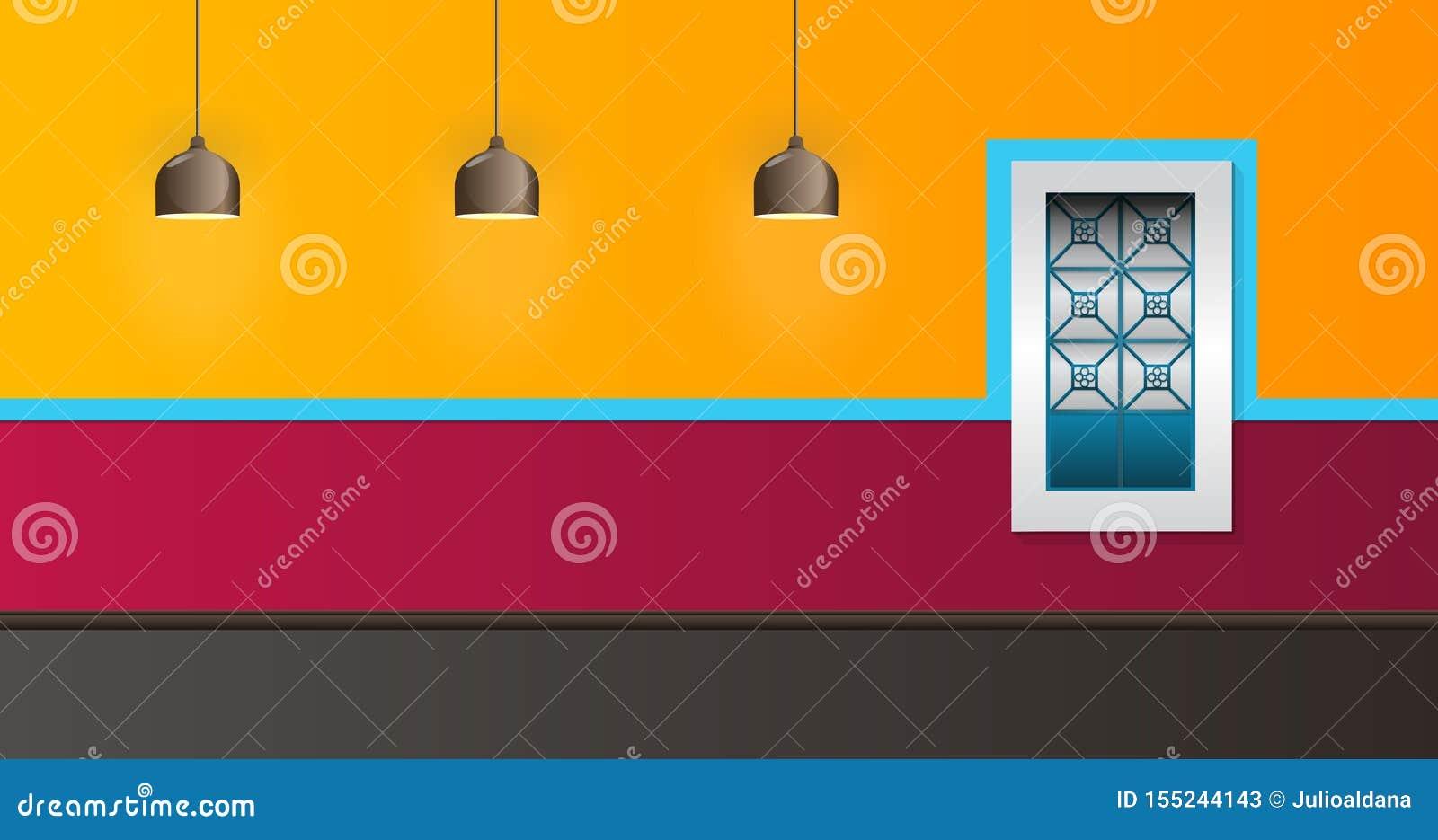Estilo colonial da janela e da lâmpada da ilustração do vetor da fachada da casa