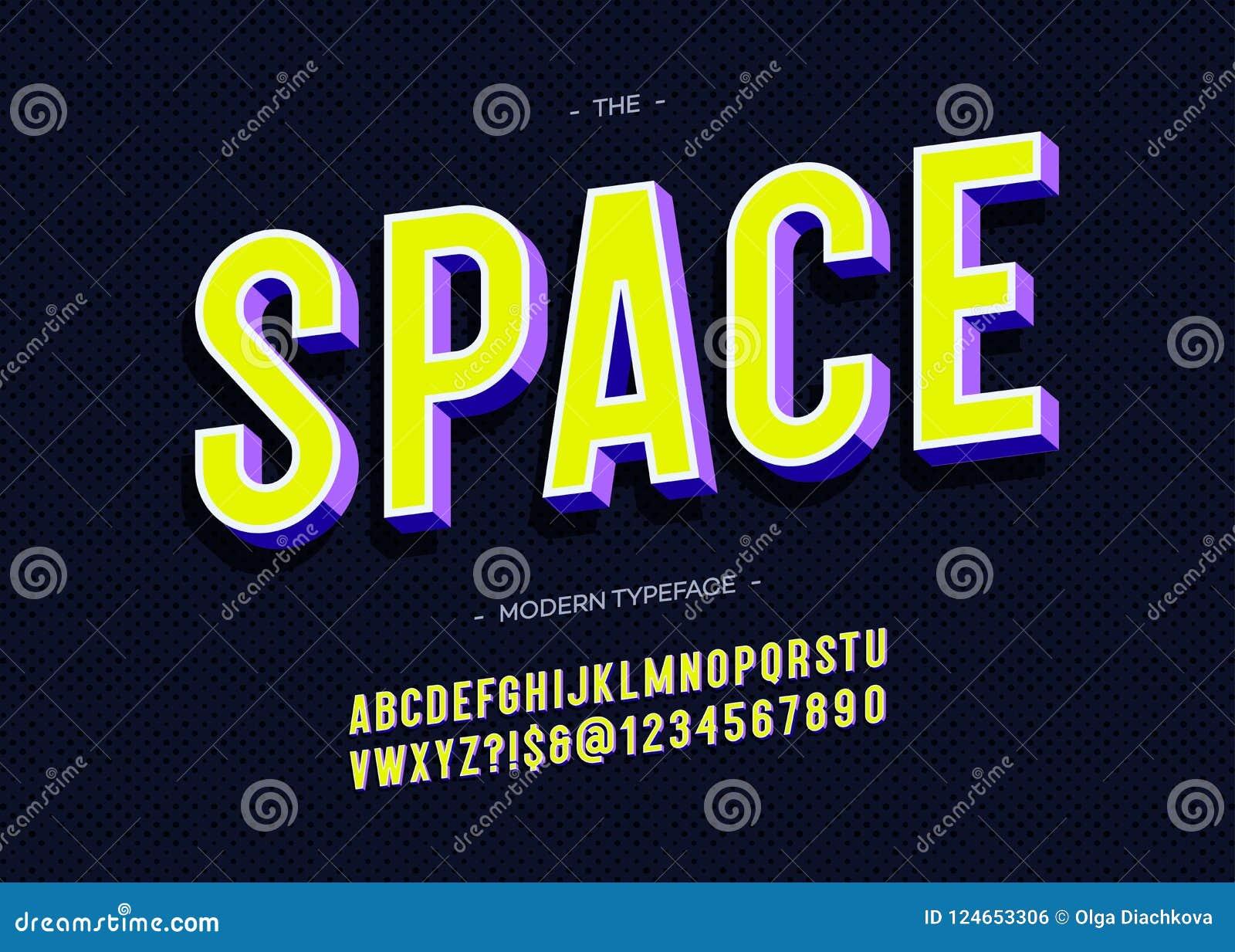 Estilo colorido de la tipografía intrépida de la tipografía 3d del espacio de vector