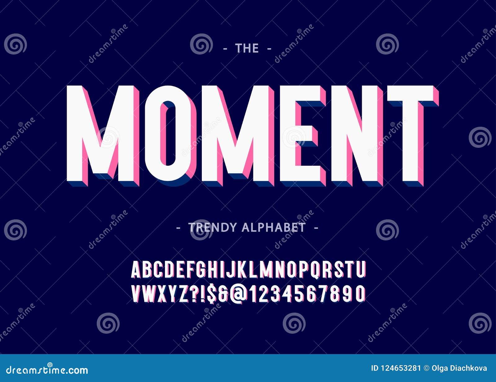 Estilo colorido de sans serif de la tipografía intrépida del alfabeto 3d del momento