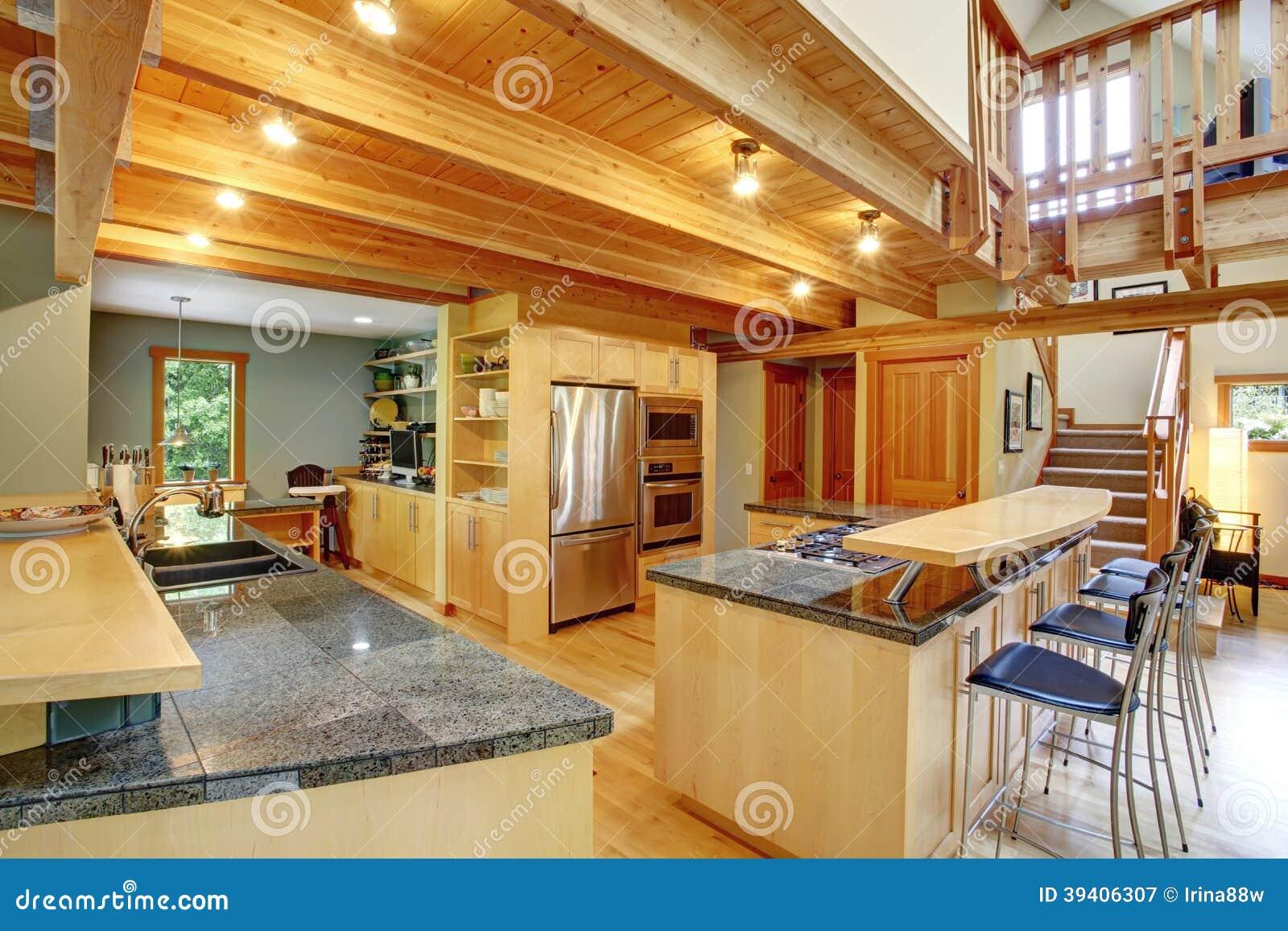 #B38018 Vista da cozinha brilhante com dispositivos de aço os armários de  1300x957 px Planos De Armários De Cozinha_993 Imagens