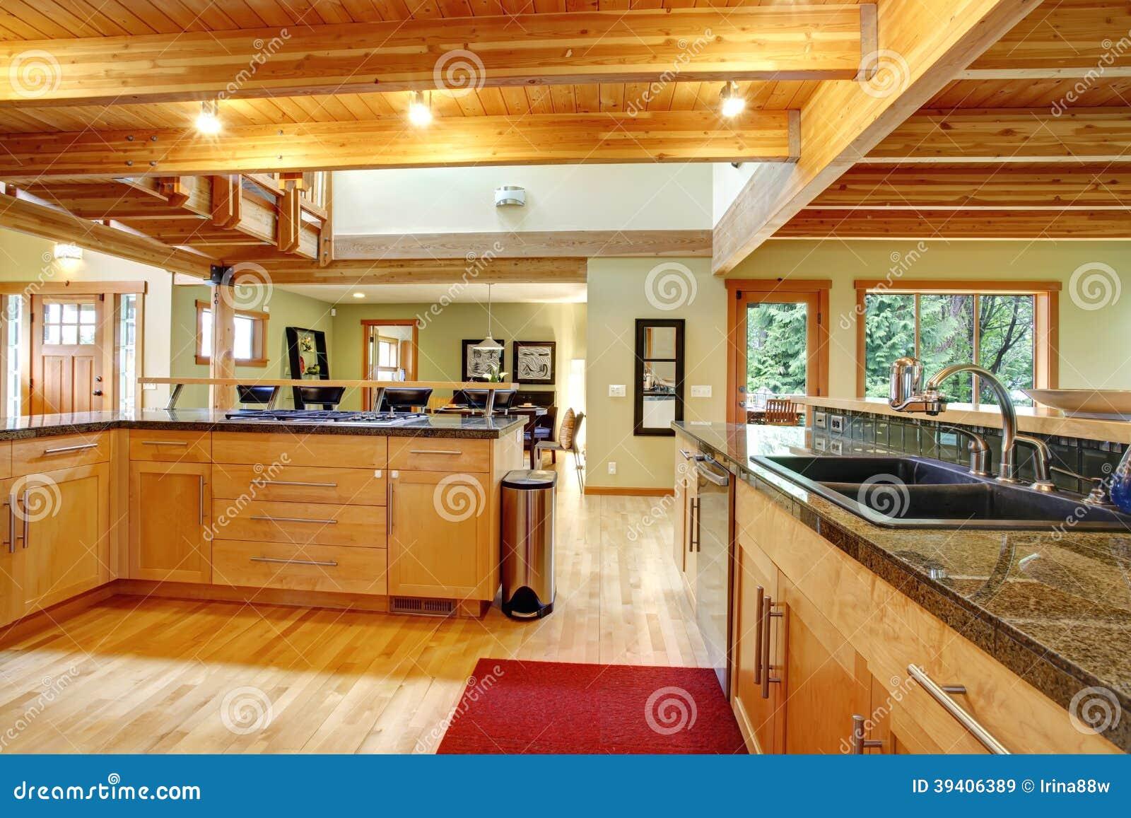 #BB8210 Vista de armários de cozinha de feixes do teto e de assoalho de  1300x957 px Planos De Armários De Cozinha_993 Imagens
